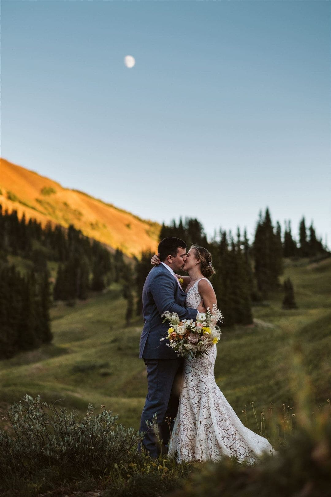 Father and daughter hugging at Breckenridge Nordic Center wedding