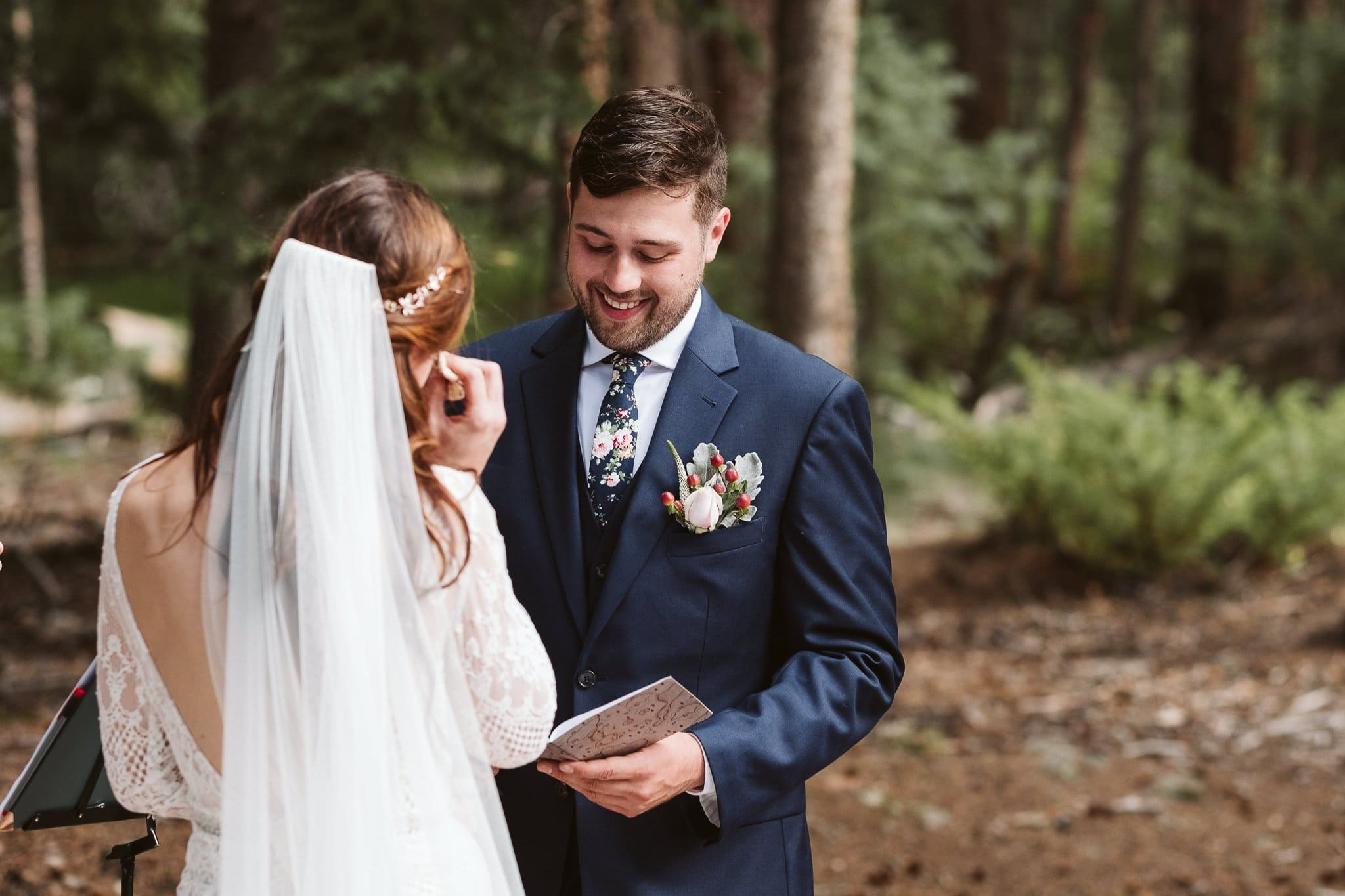 Rivertree Lodge wedding ceremony in Breckenridge, wedding in the woods of Colorado