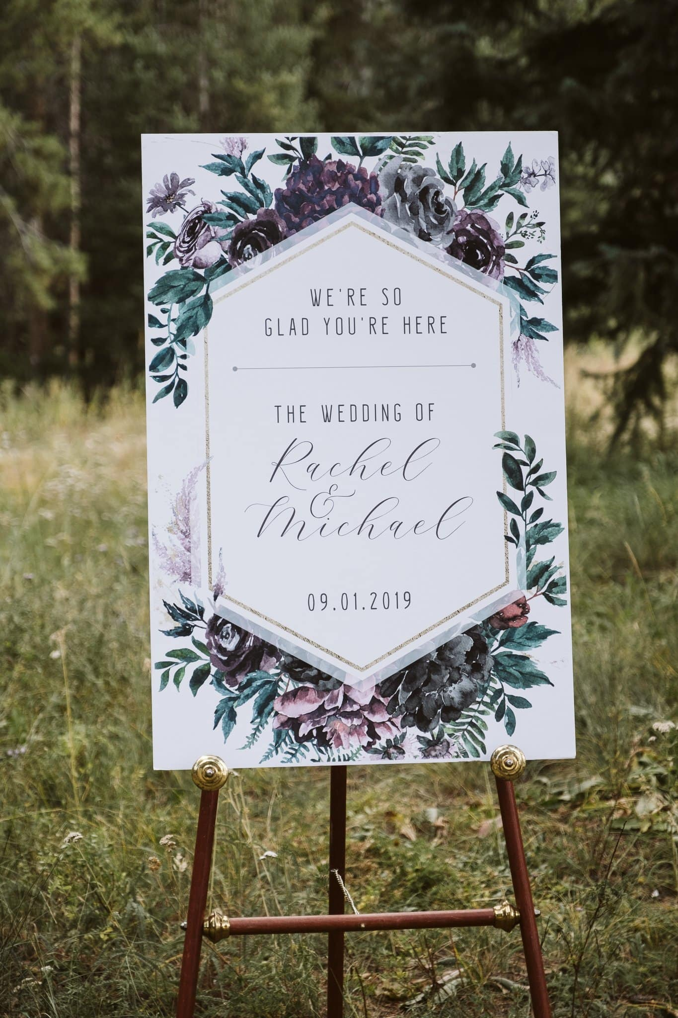 Wedding welcome sign on easel