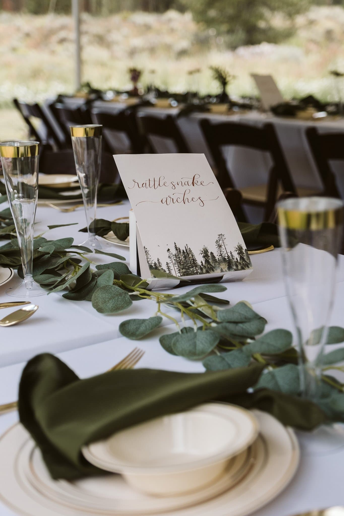 Campground themed names for wedding table place cards