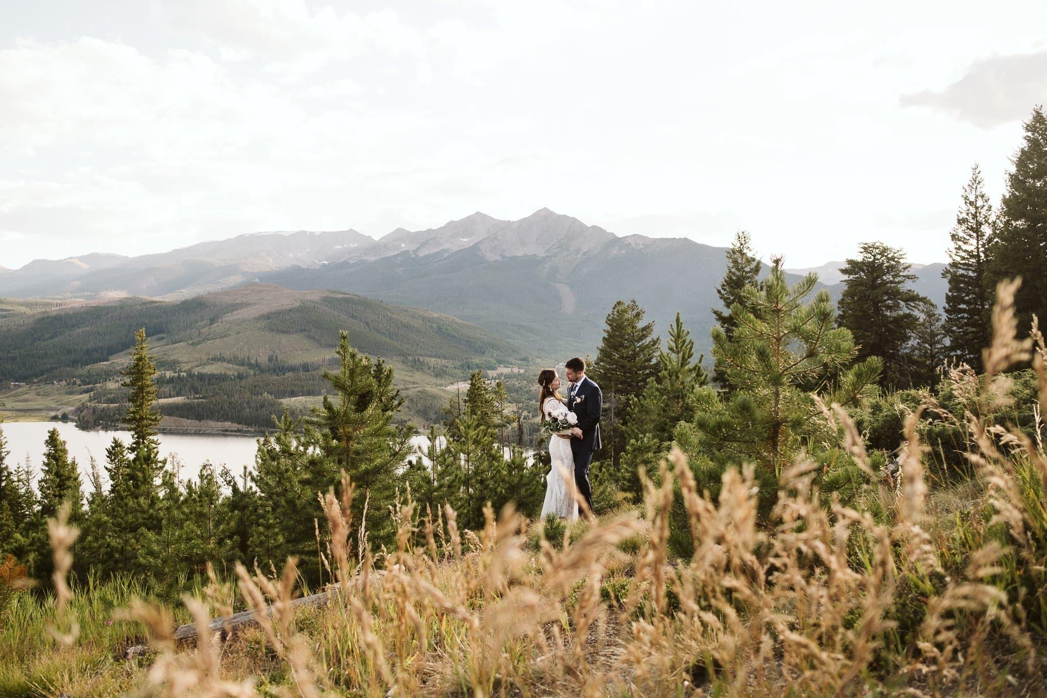 Breckenridge elopement photos with mountain views.