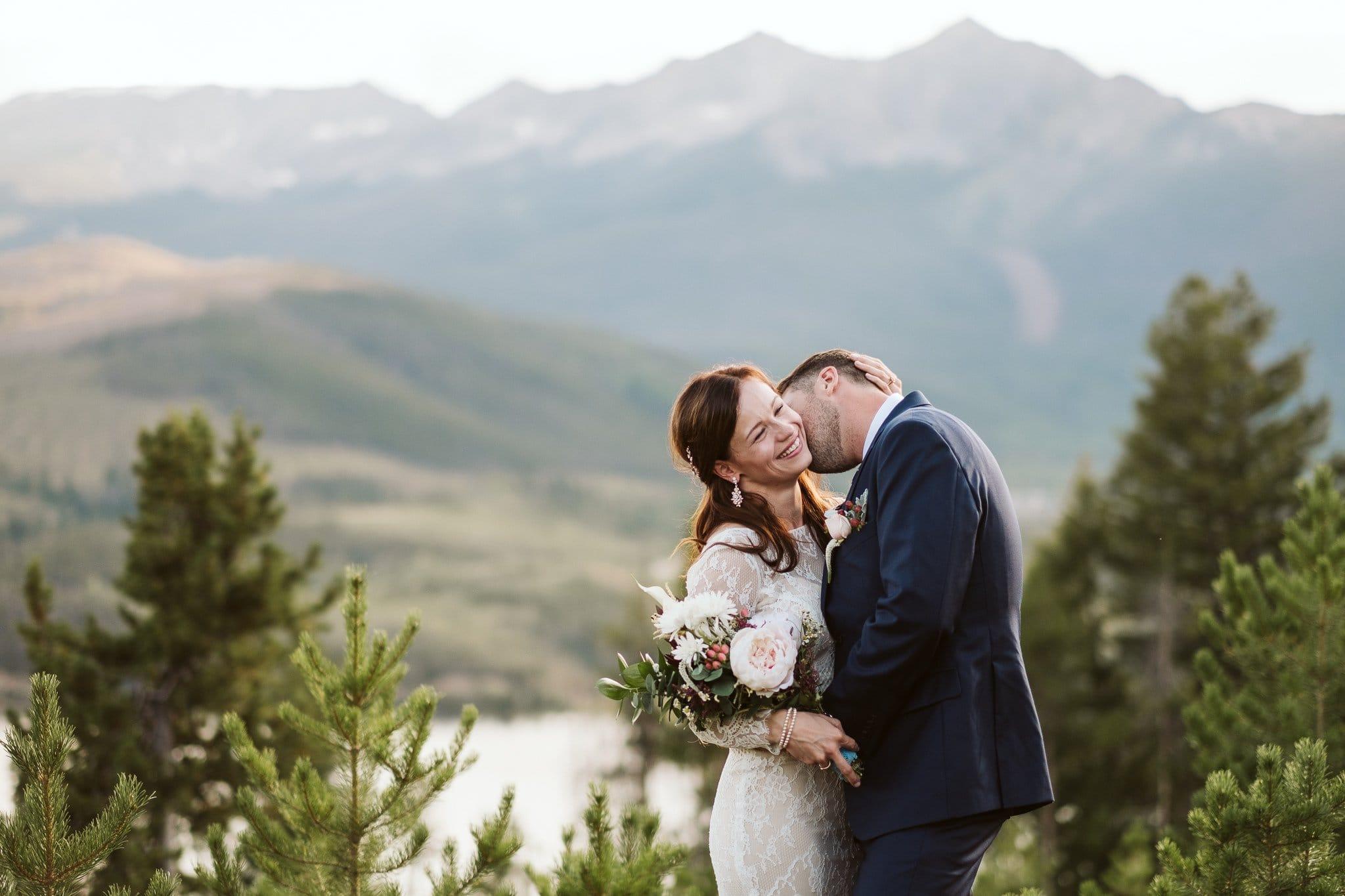 Breckenridge elopement at Sapphire Point Overlook.