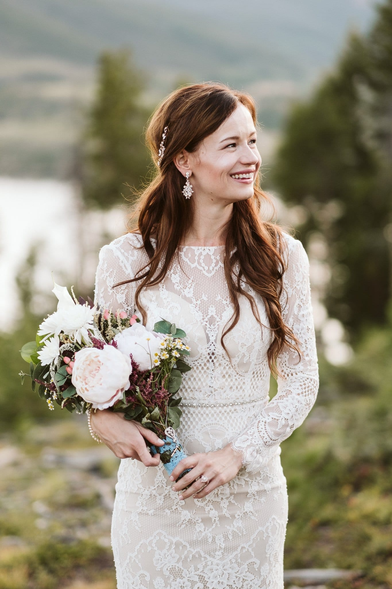 Bridal portraits in the woods, bride wearing Ortiva wedding dress from White One by Pronovias, long sleeve elegant wedding dress