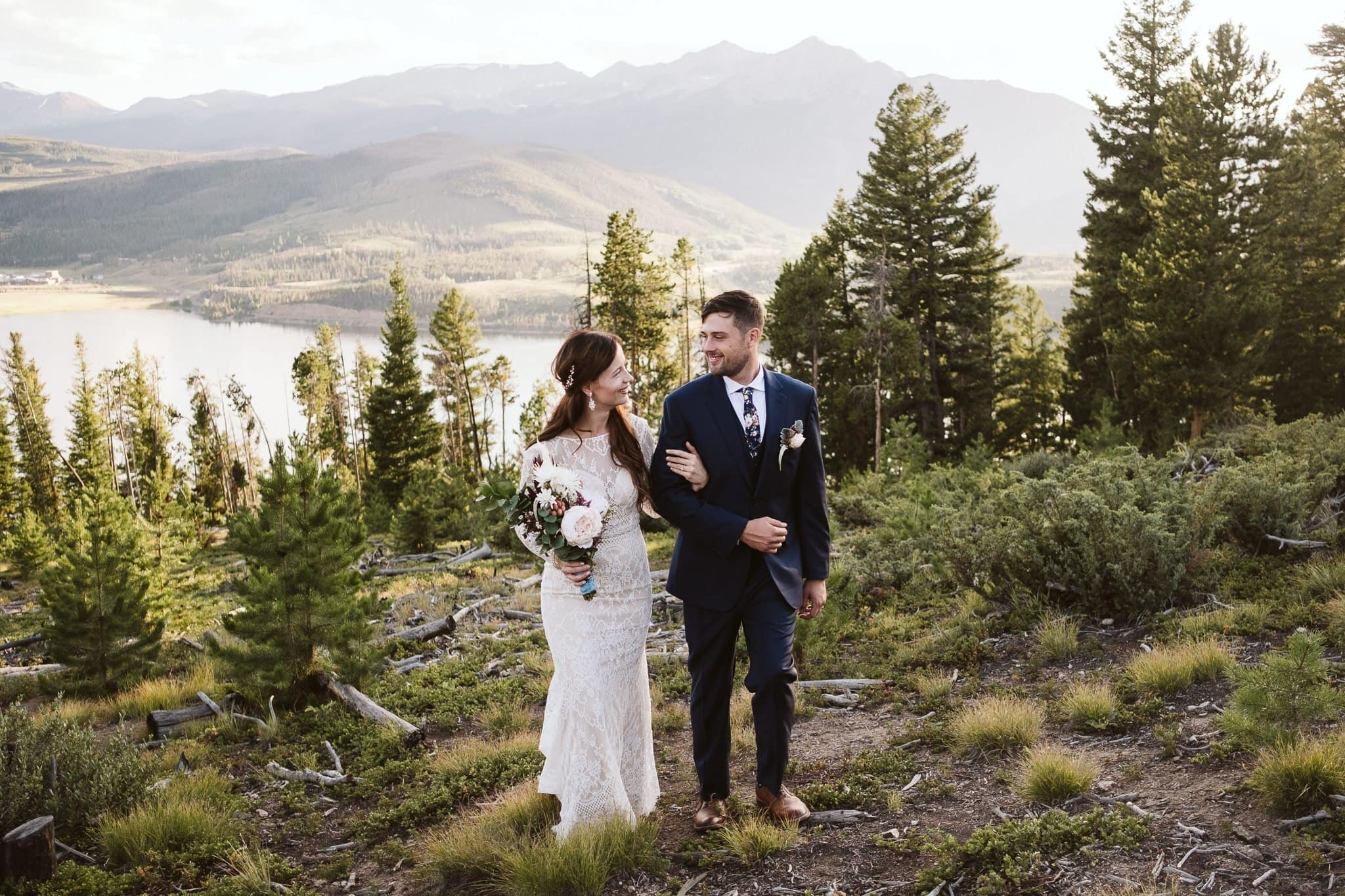 Bride and groom wedding portraits at Sapphire Point in Dillon, Colorado mountain wedding photos