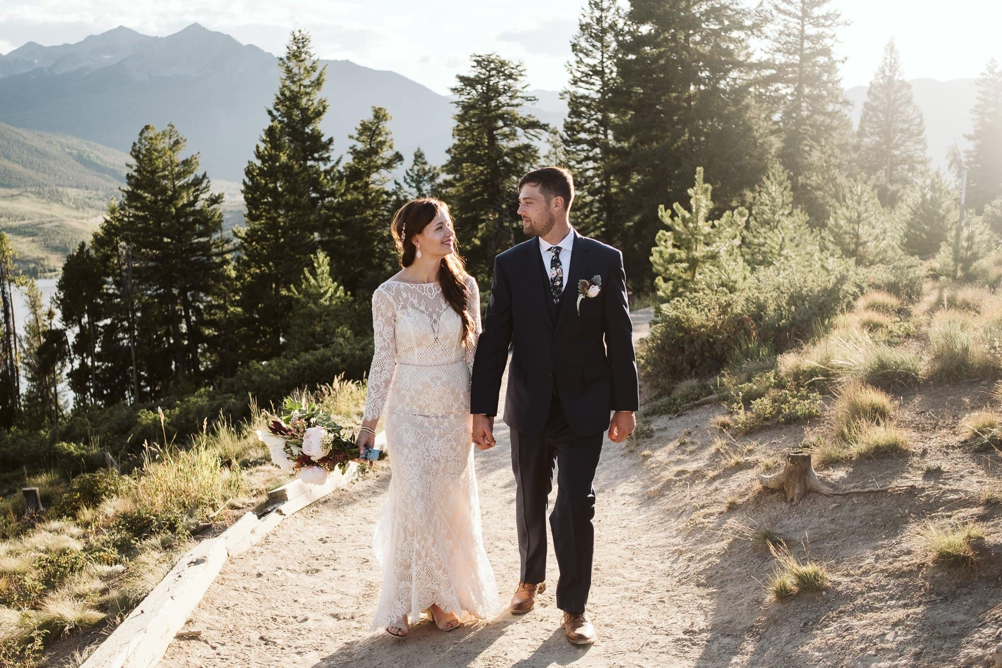 Wedding at Sapphire Point Overlook trail in Summit County