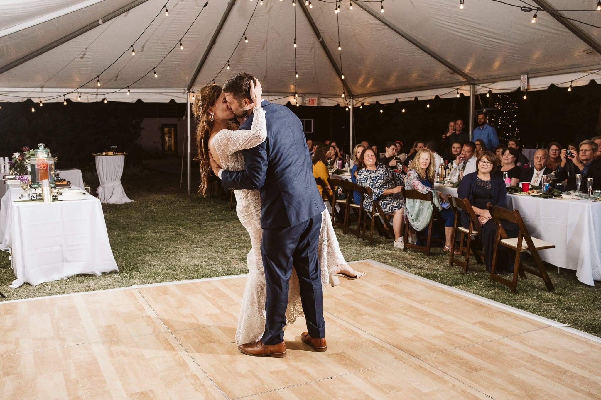 Bride and groom first dance at Rivertree Lodge in Breckenridge