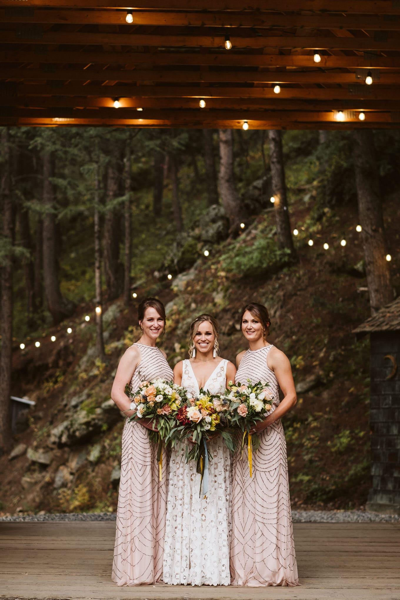 Bride and bridesmaids at Blackstone Rivers Ranch in Idaho Springs