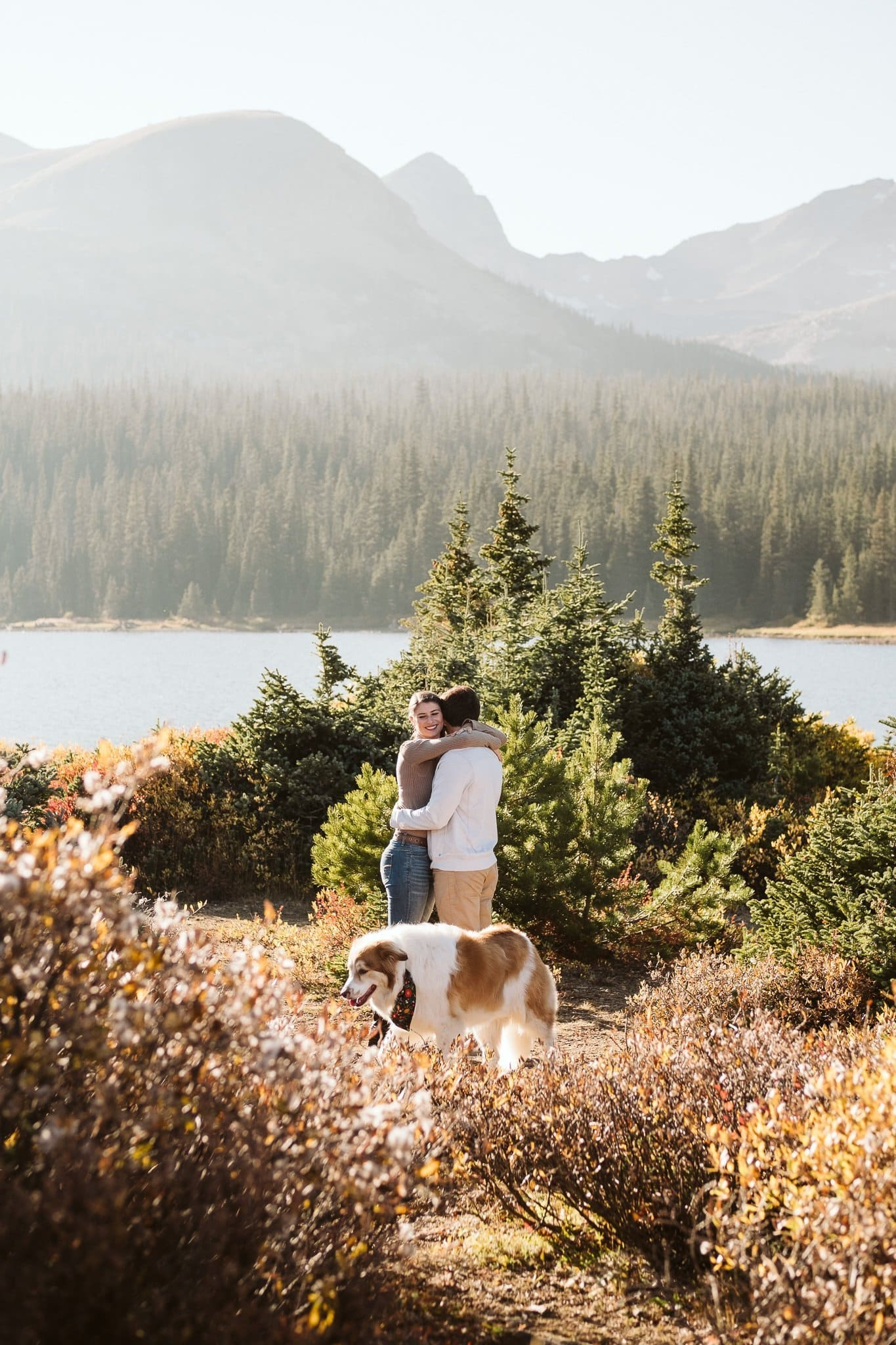 Brainard Lake engagement session with dog