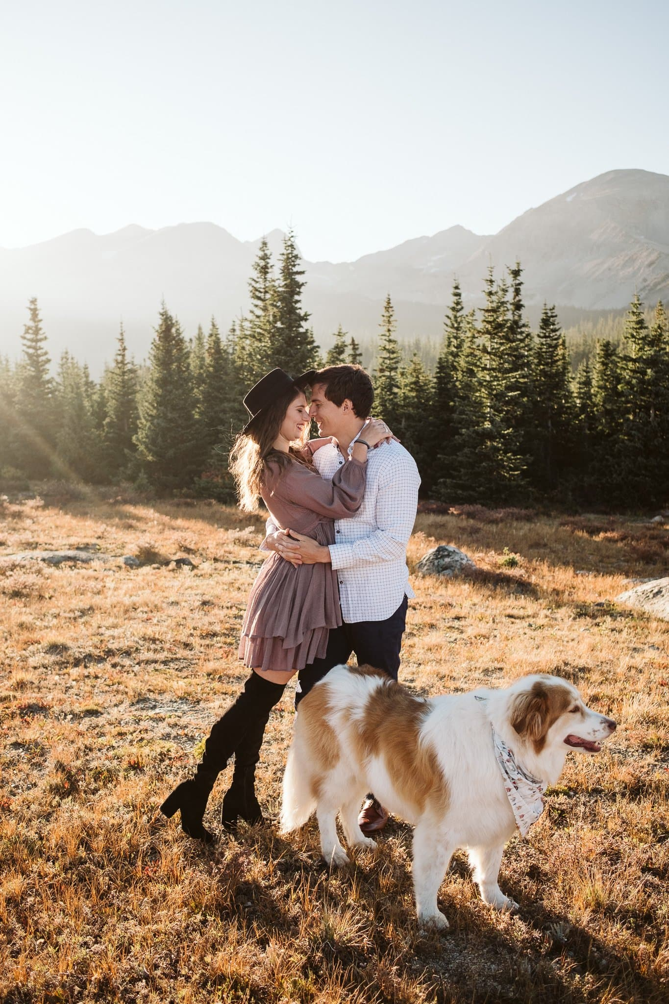 Brainard Lake engagement session with dog at golden hour