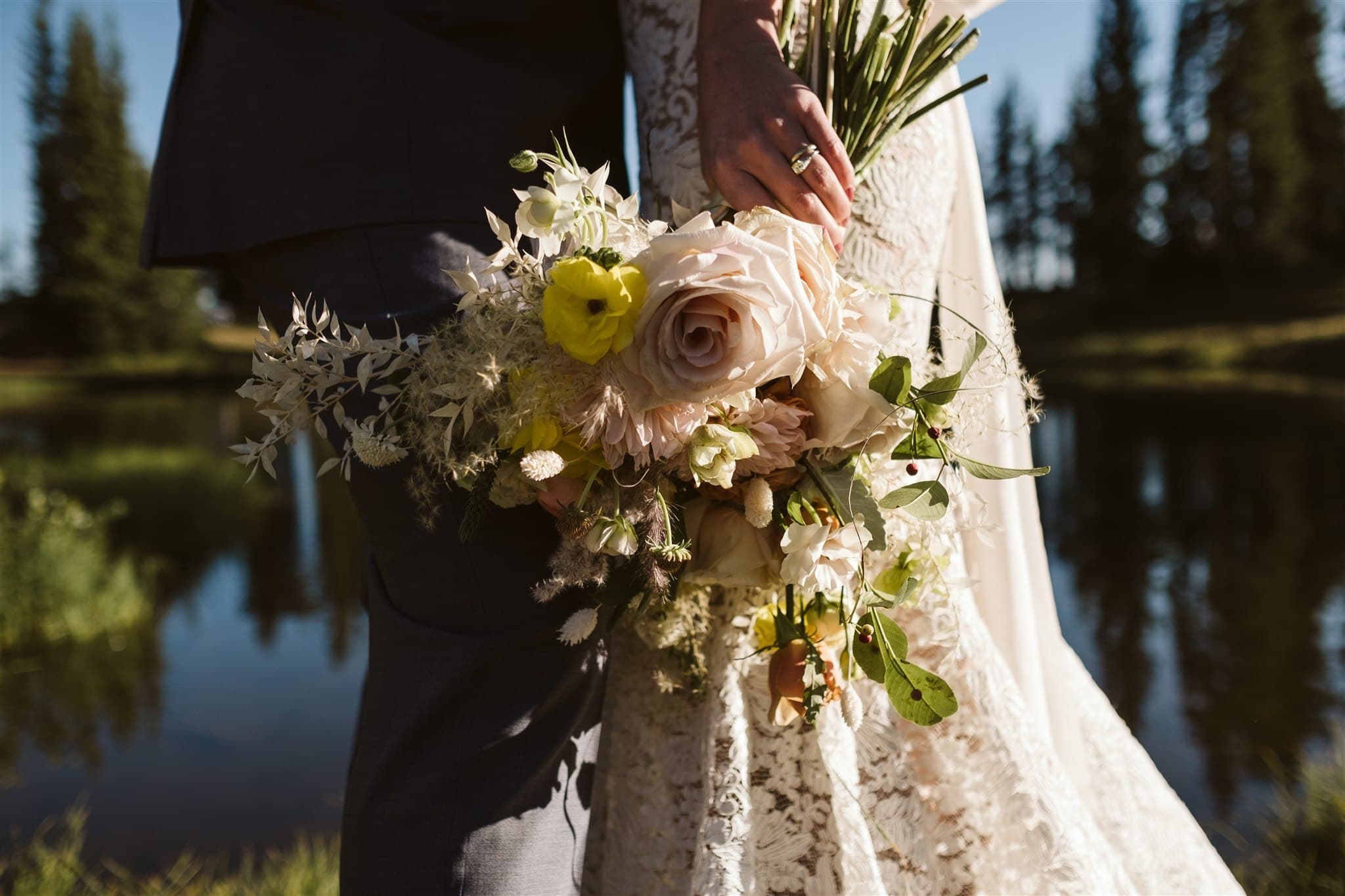Elopement bouquet by Fin + Ally best Colorado wedding florist in Crested Butte