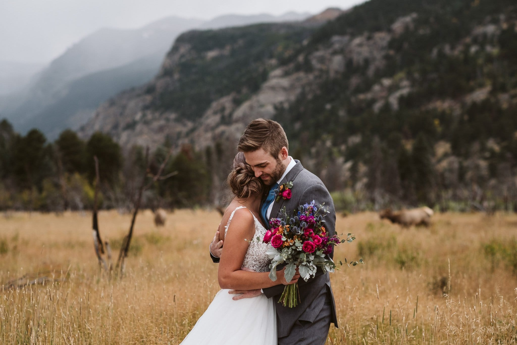 Rainy elopement in Rocky Mountain National Park with elk