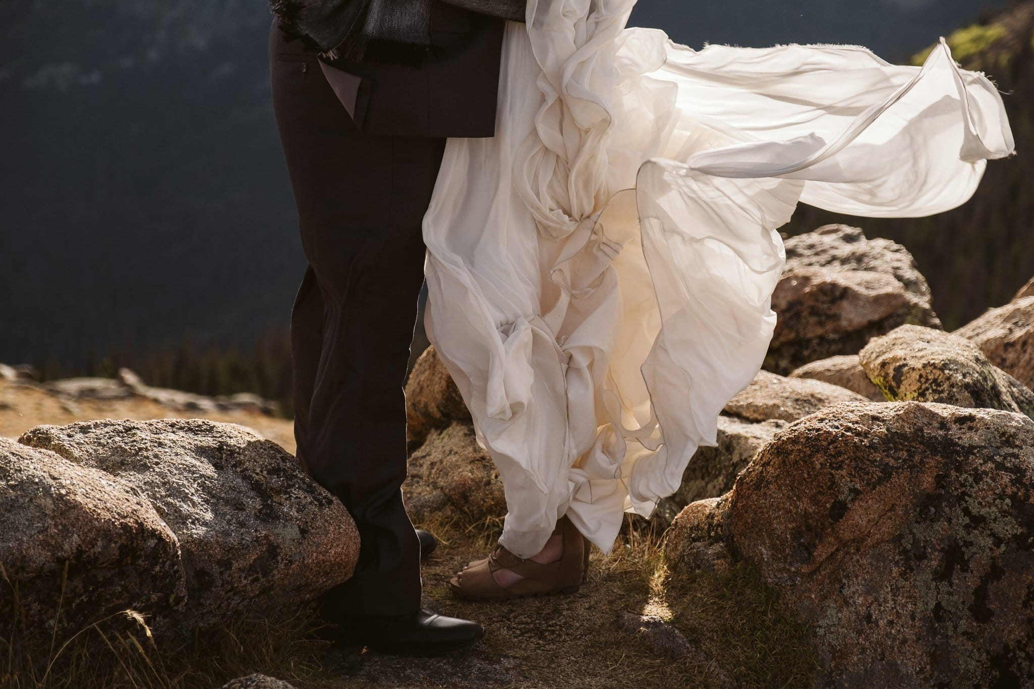 Windy wedding dress in Colorado
