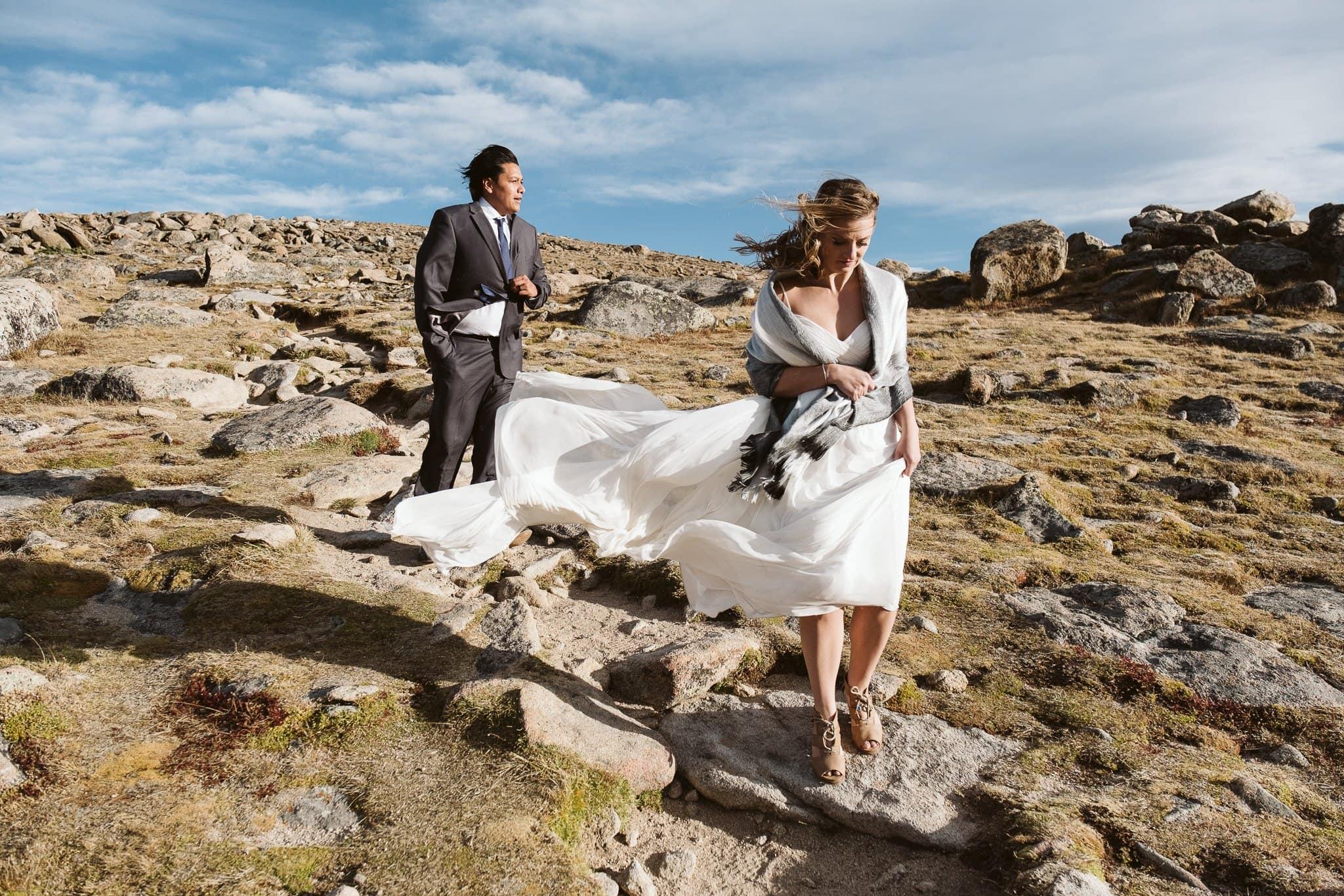 Windy elopement in Colorado