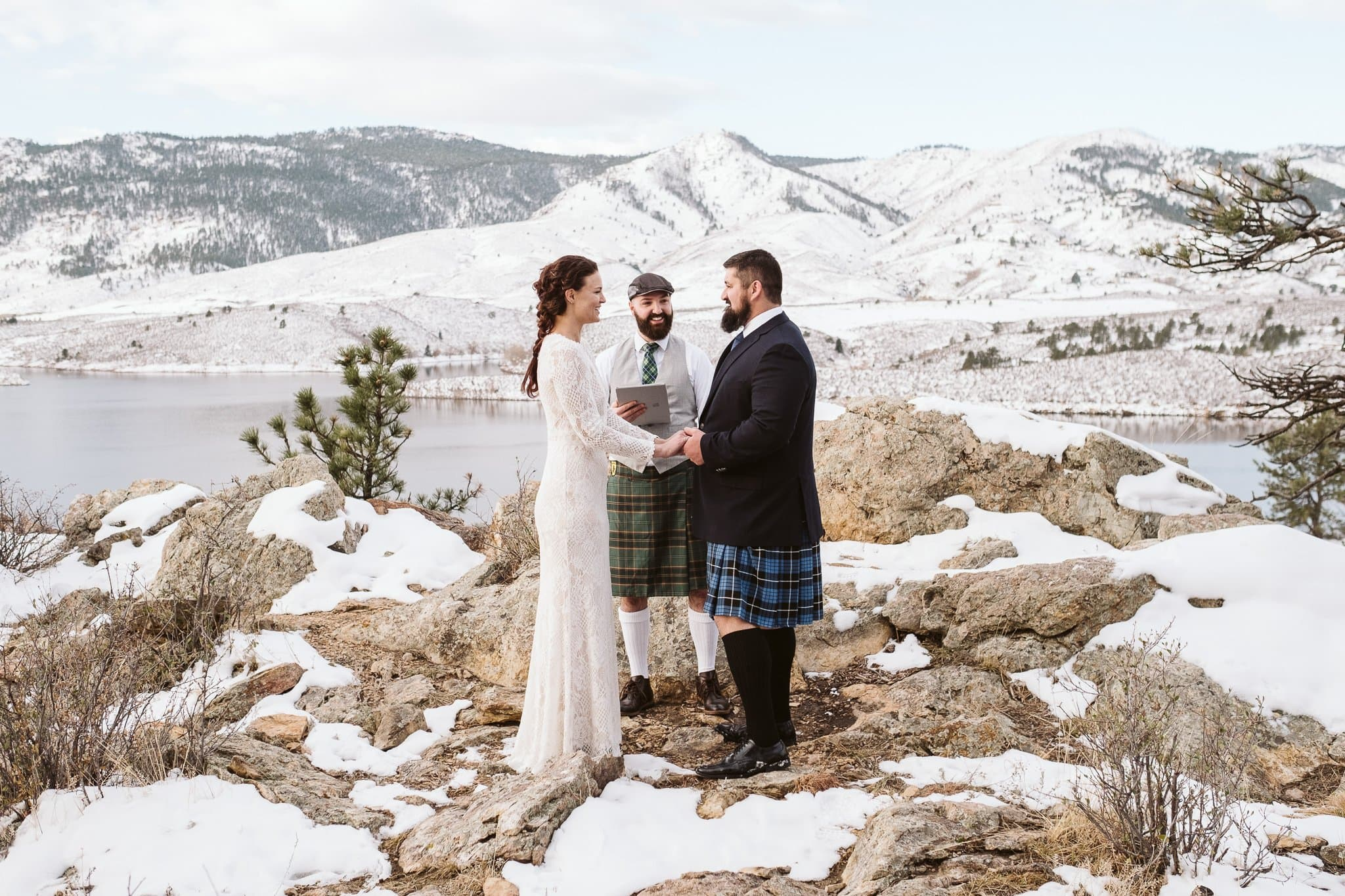 Horsetooth Reservoir Elopement in winter, Fort Collins wedding photographer