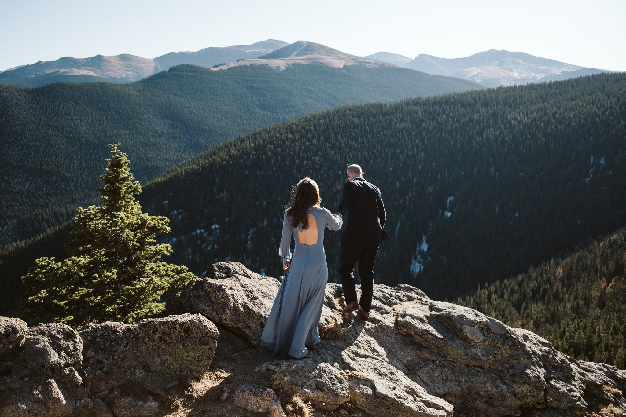Idaho Springs engagement session in Colorado, hiking adventure session in long dress