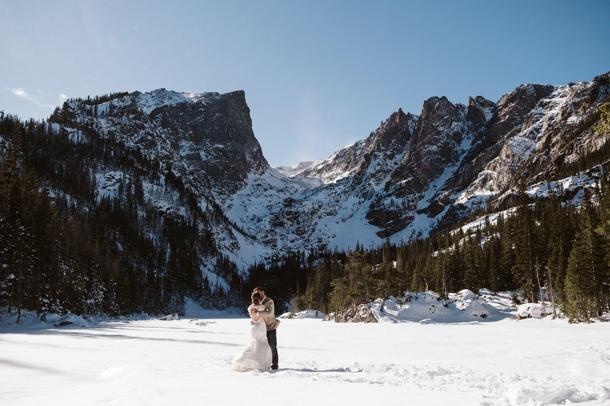 Dream Lake elopement photos in winter