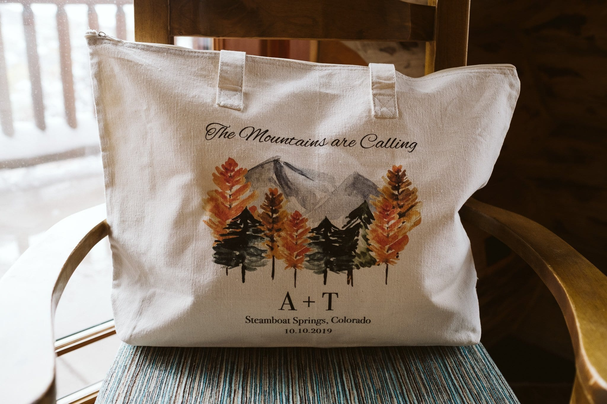 Custom printed welcome bag for elopement in Steamboat Springs