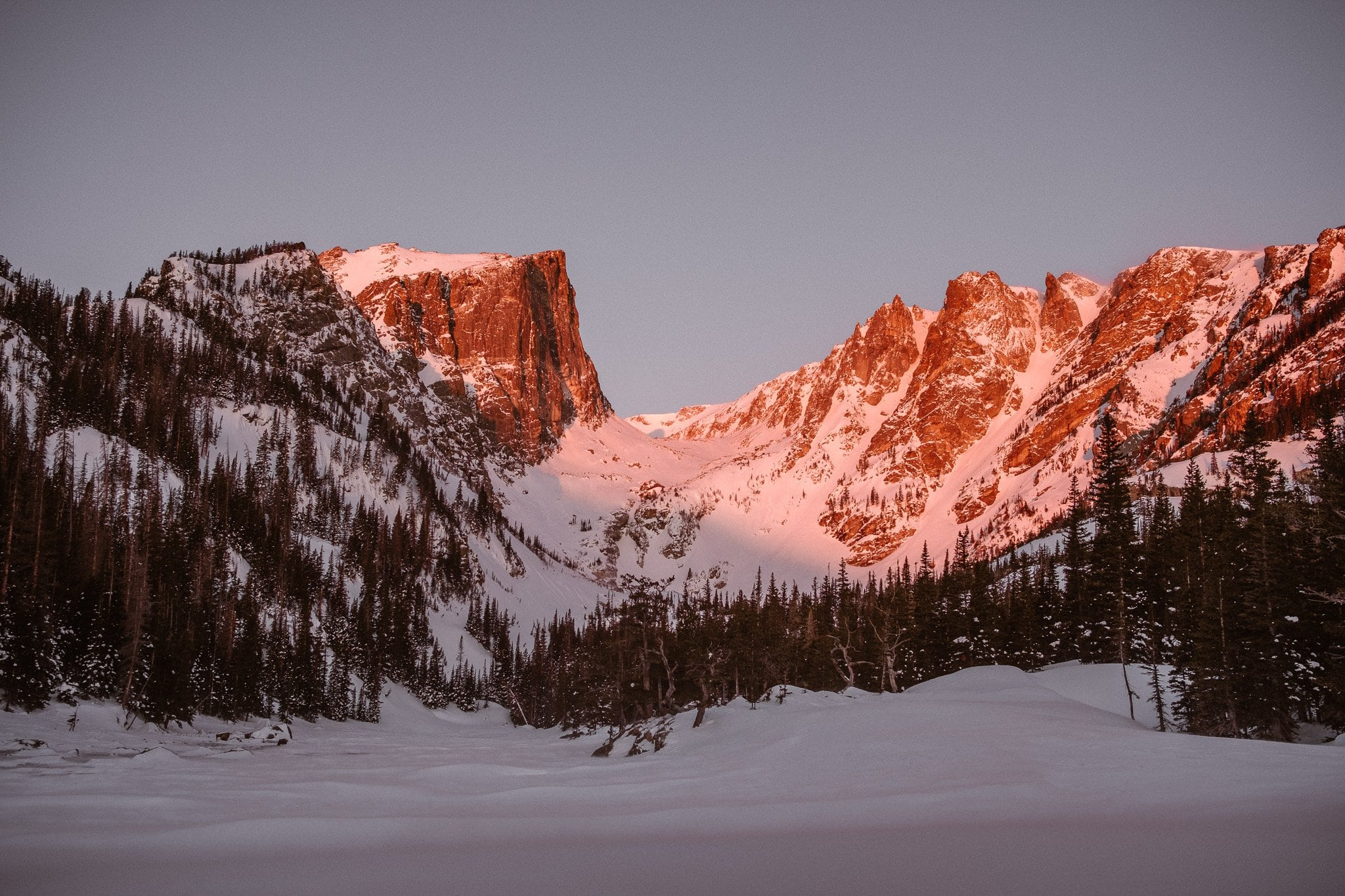 Dream Lake sunrise with alpenglow in winter