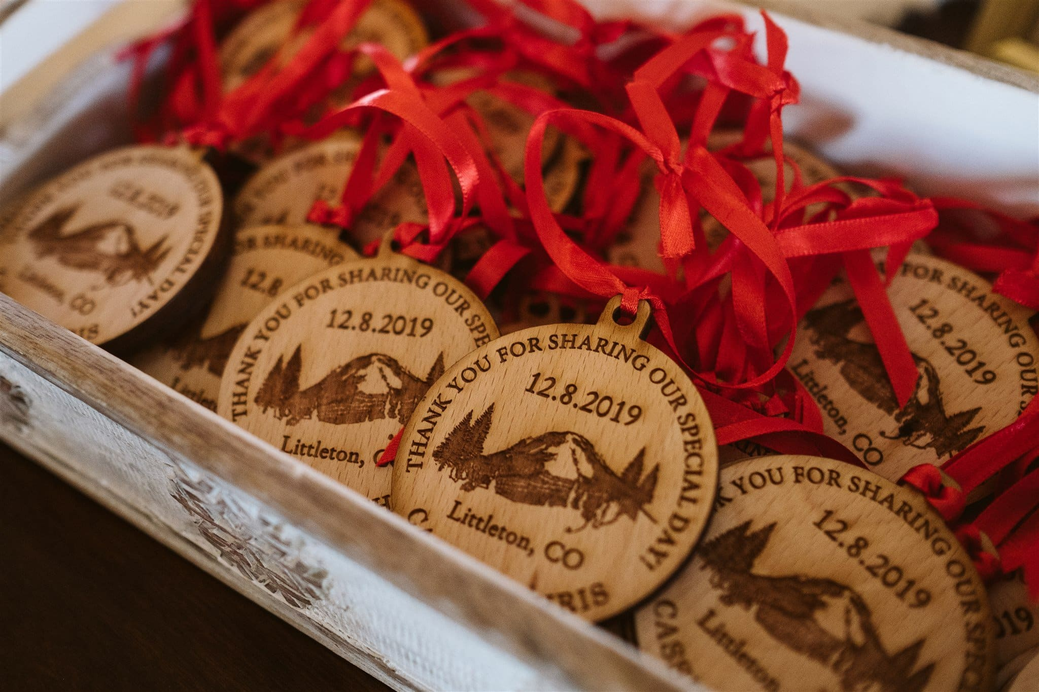 Wood burned Christmas ornament wedding favors