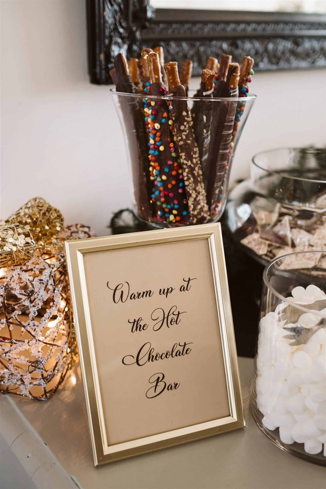 Hot Chocolate Bar at a winter wedding