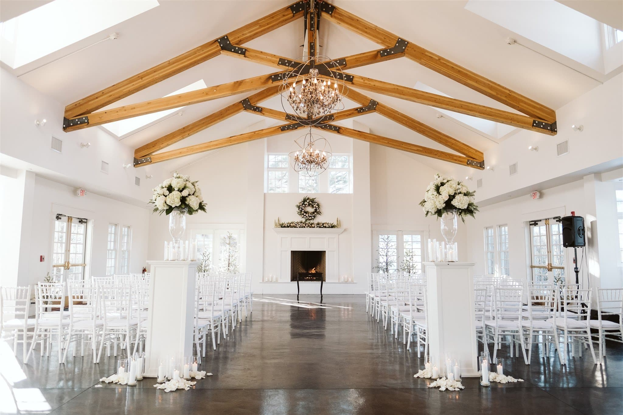 Indoor wedding ceremony at the Manor House in Littleton