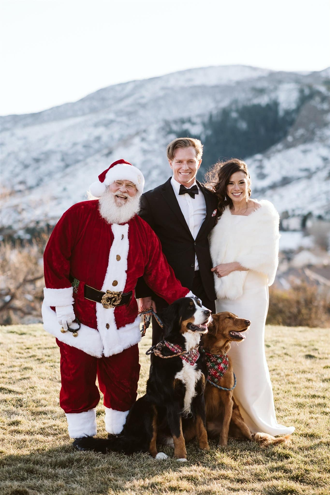 Bride and groom with santa and their dogs