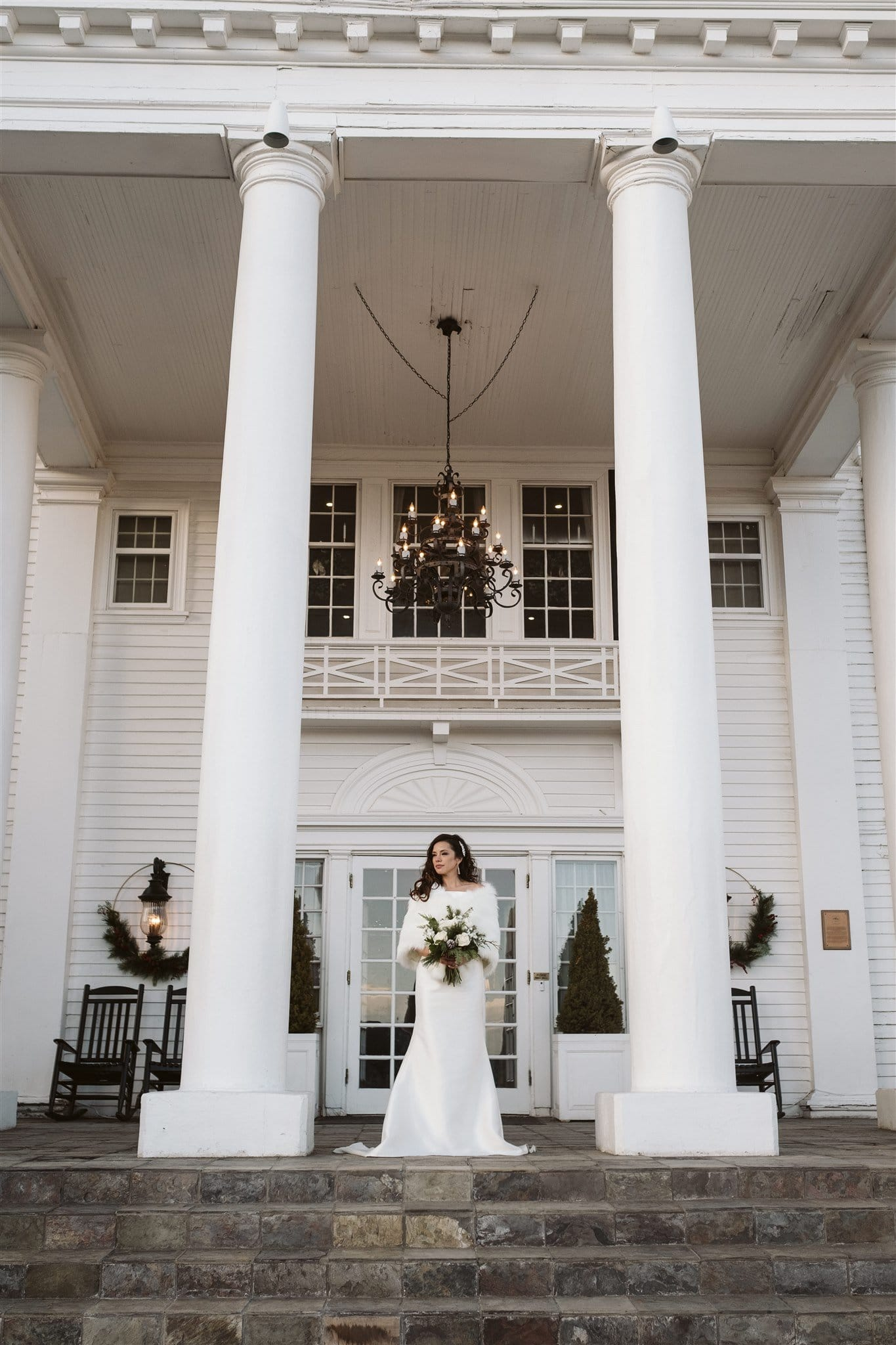 Classic bride portrait for winter wedding at the Manor House in Denver