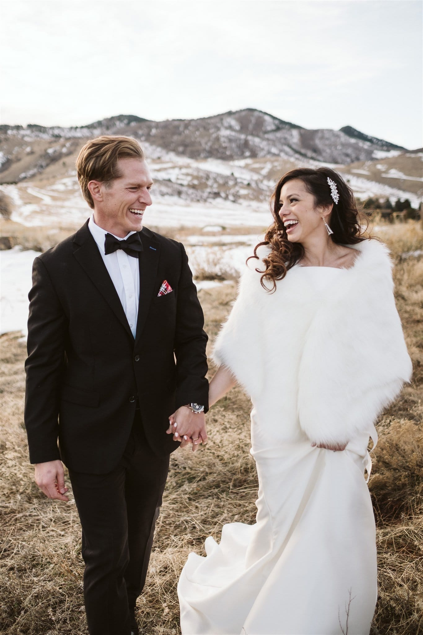 Bride and groom at winter wedding in Colorado