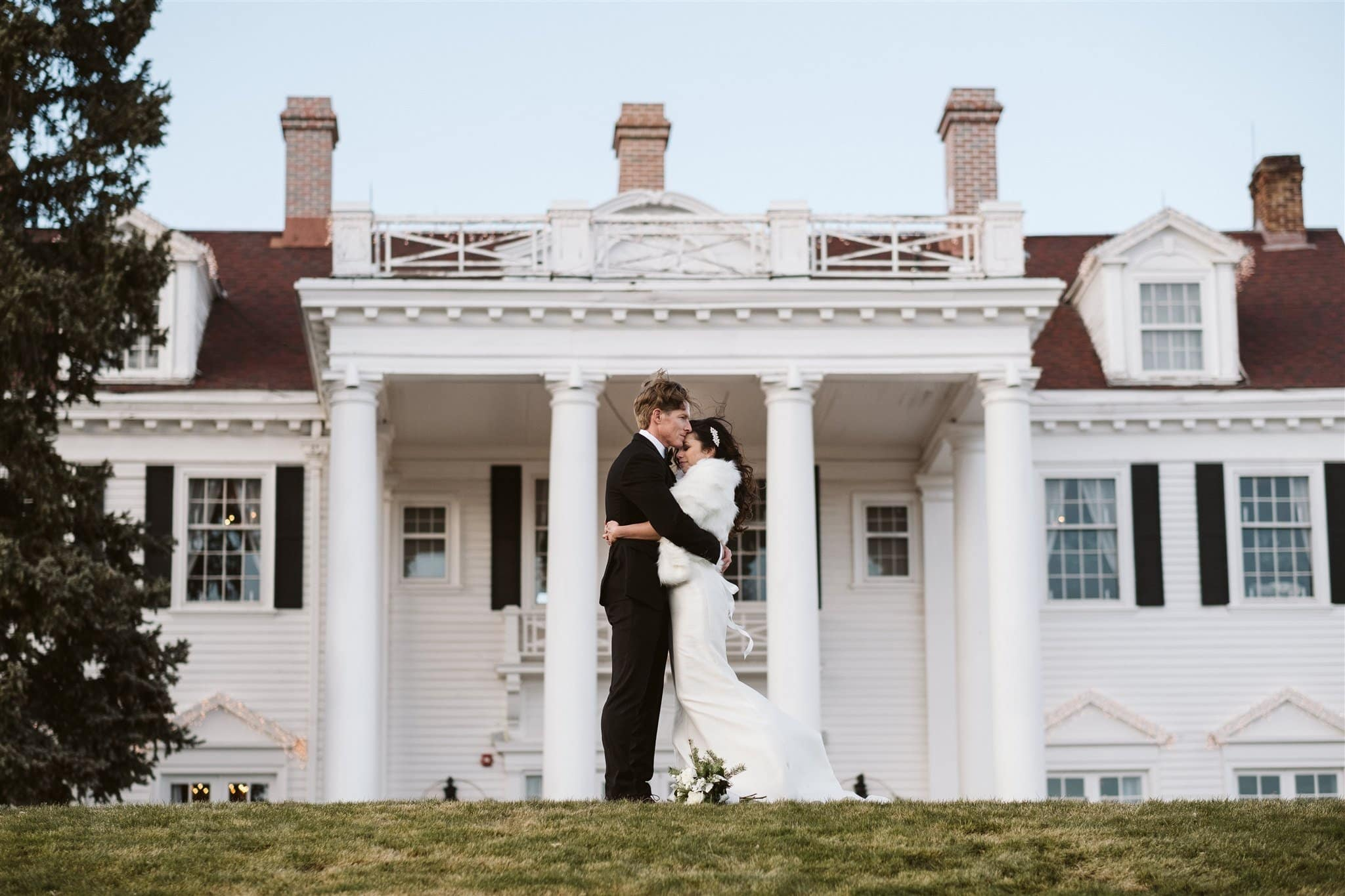 Bride and groom wedding portraits at The Manor House in Denver