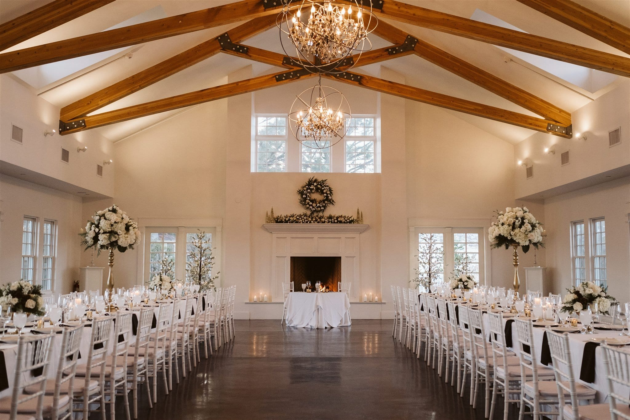 Cozy winter wedding reception in Denver