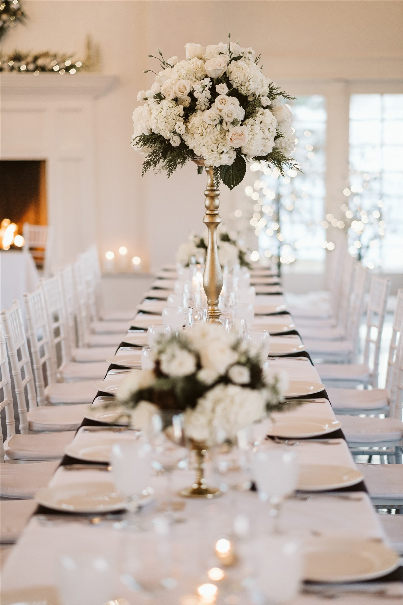 Cozy winter wedding reception tables