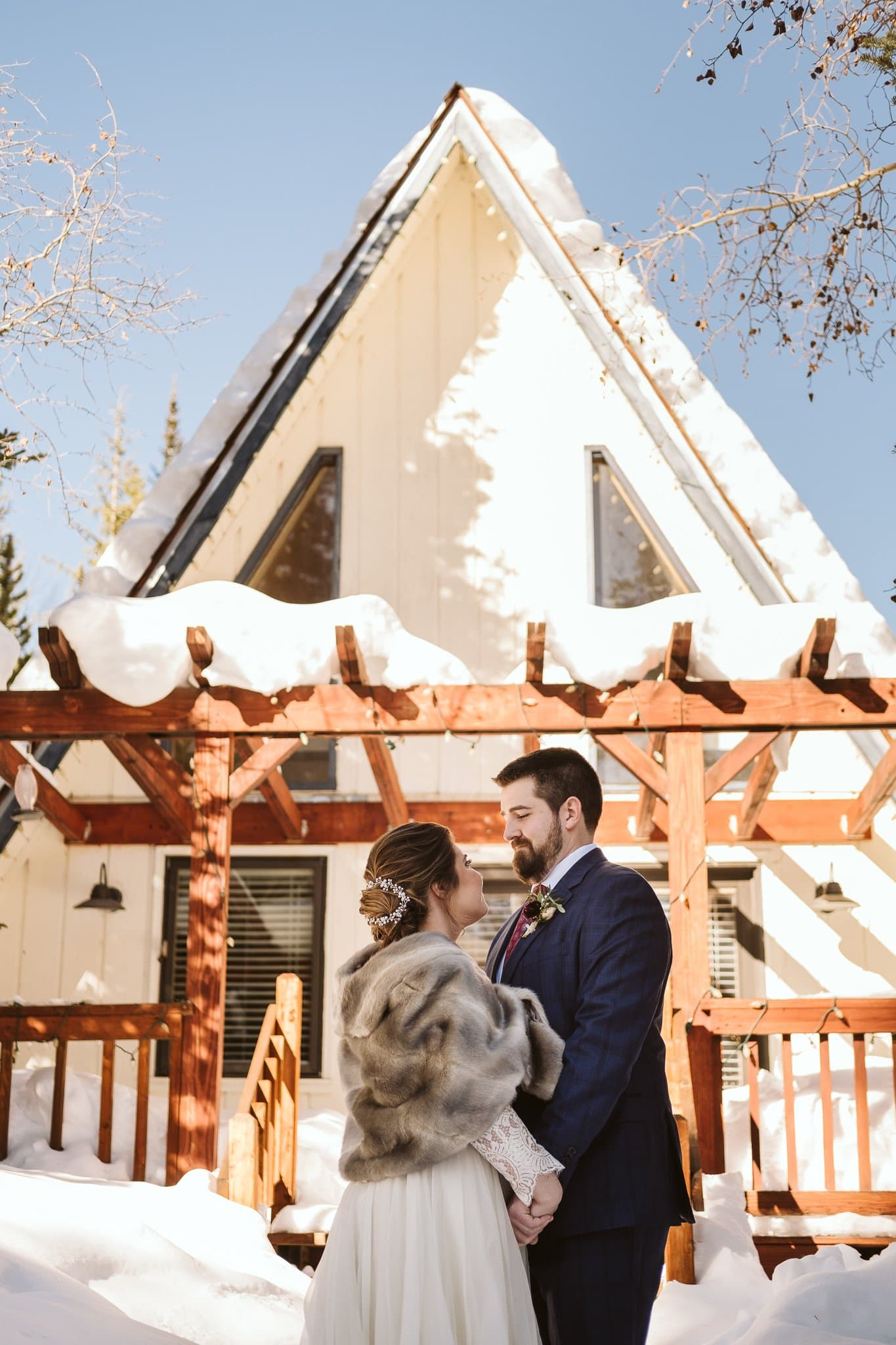 A-frame cabin winter elopement in Breckenridge, Colorado.
