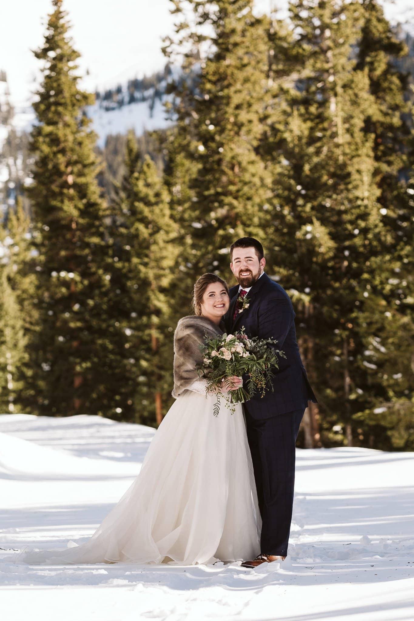 Winter elopement at Keystone Ski Resort.