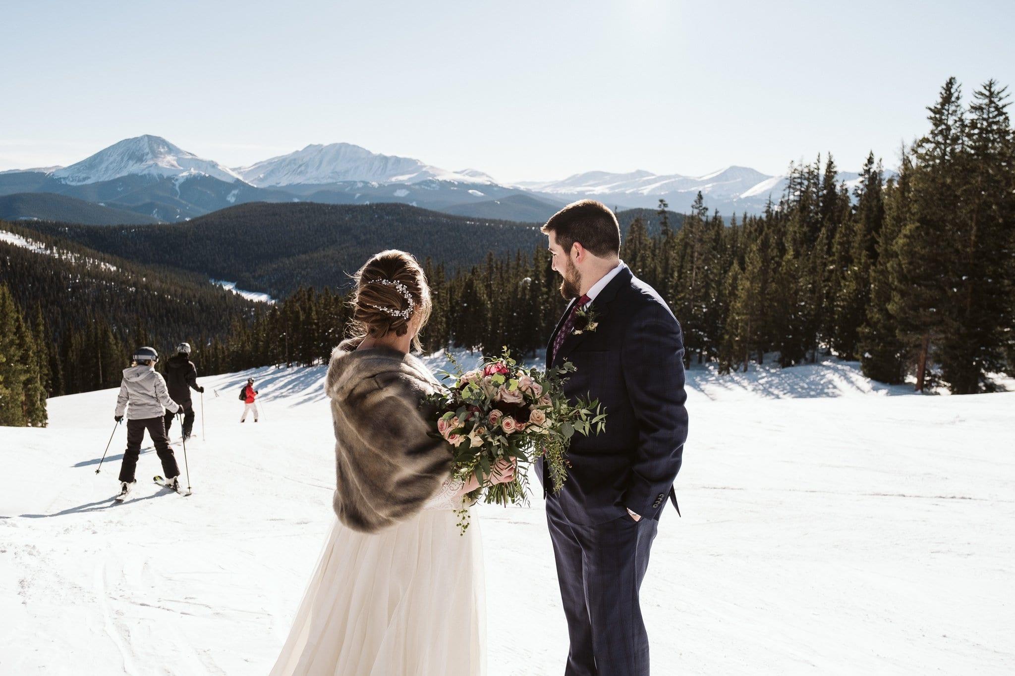 Winter elopement at Keystone Ski Resort in Colorado.