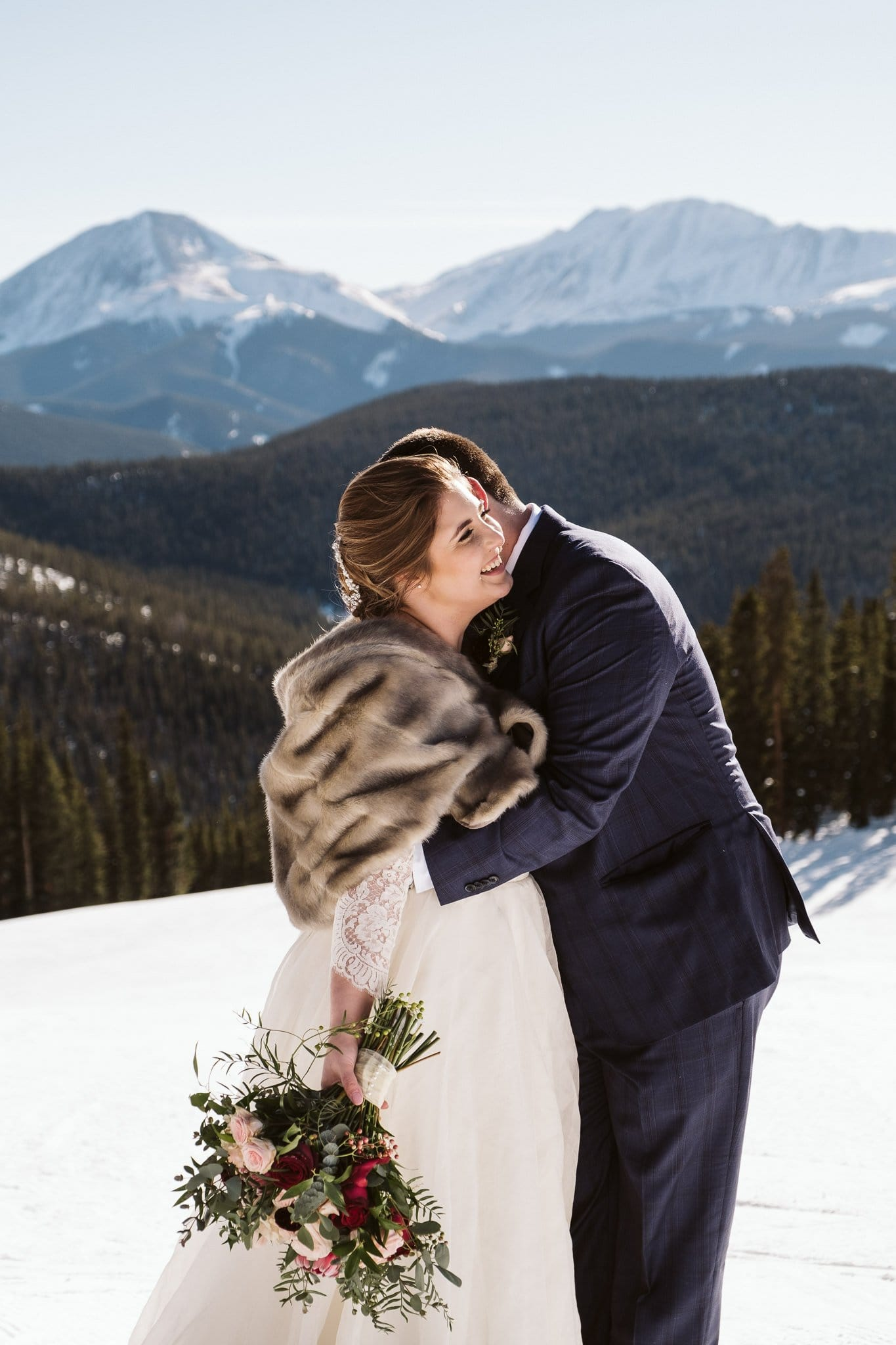 Winter elopement on the slopes of Keystone Ski Resort in Colorado.
