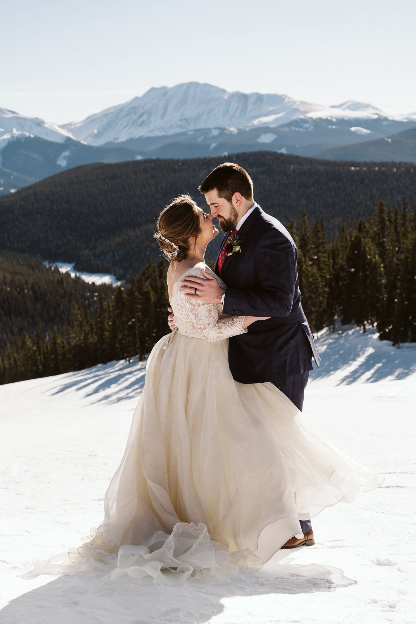 Winter elopement on the slopes of Keystone Ski Resort in Colorado.