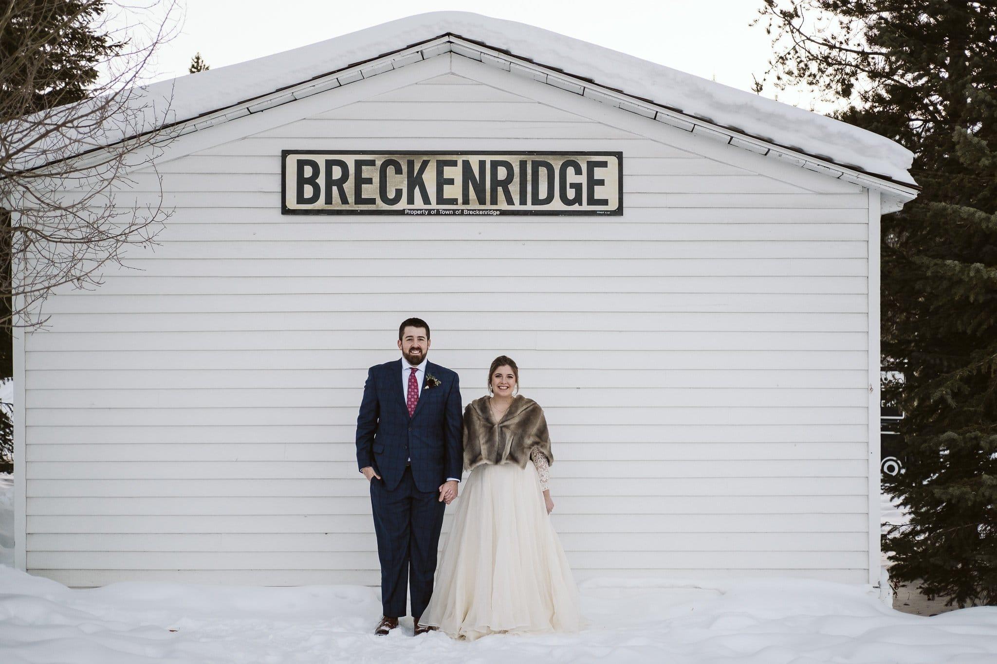 Breckenridge winter wedding photos.