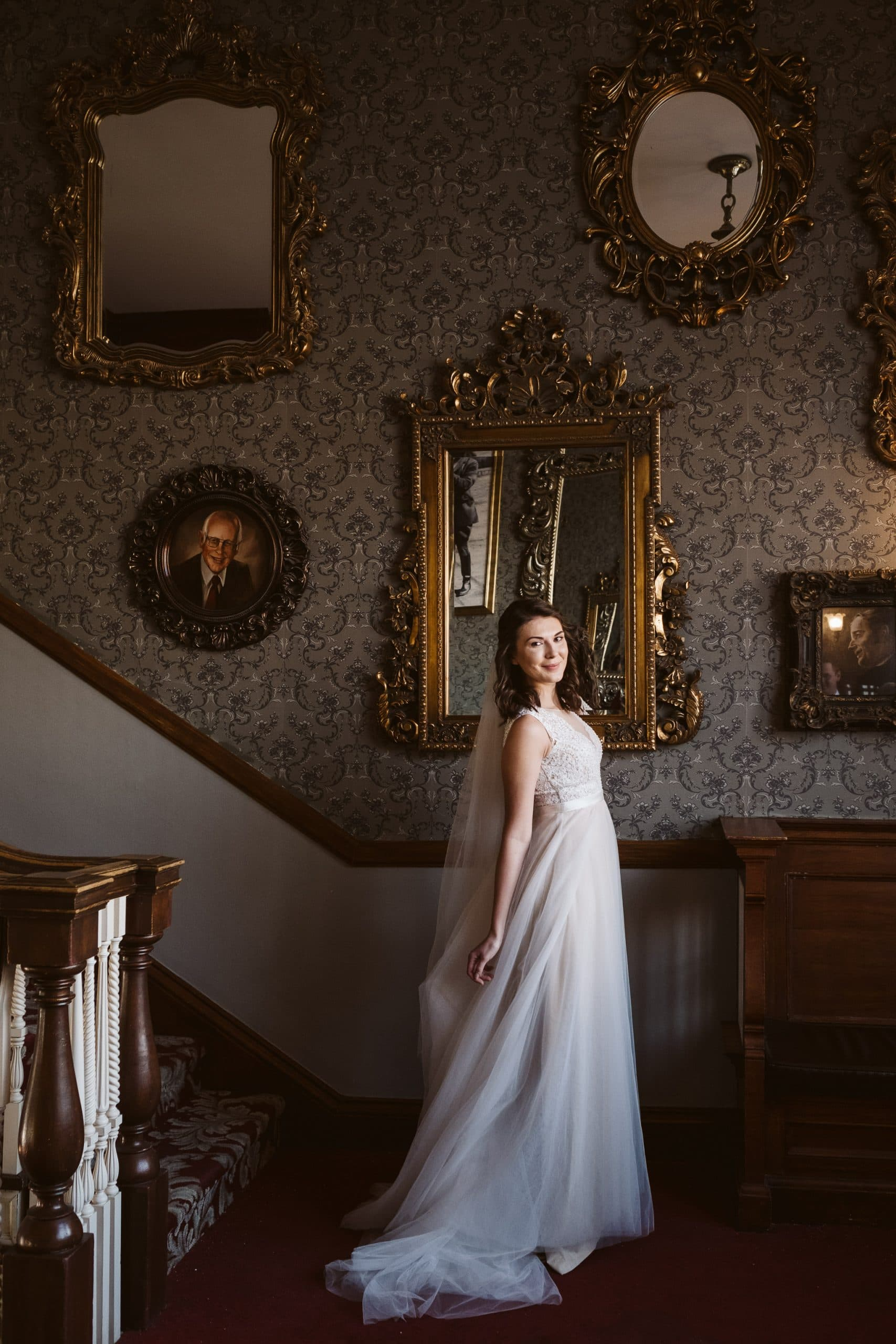 Bride portrait at the Stanley Hotel wedding in Estes Park.