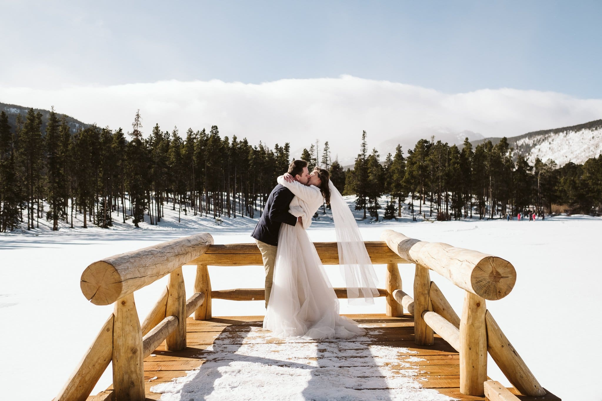 Sprague Lake elopement in winter in Rocky Mountain National Park.