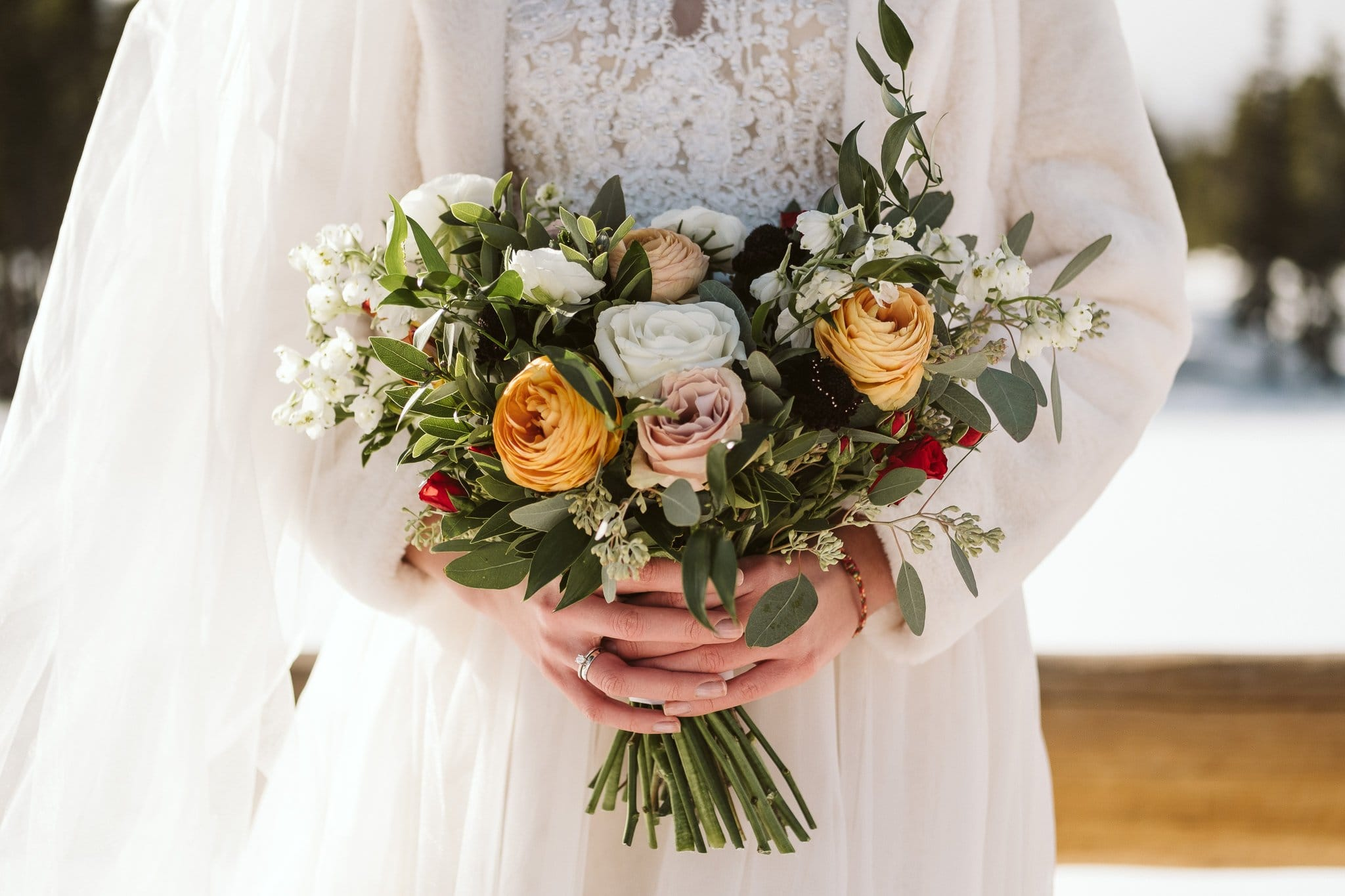 Elopement bouquet by Fawns Leap in Boulder.