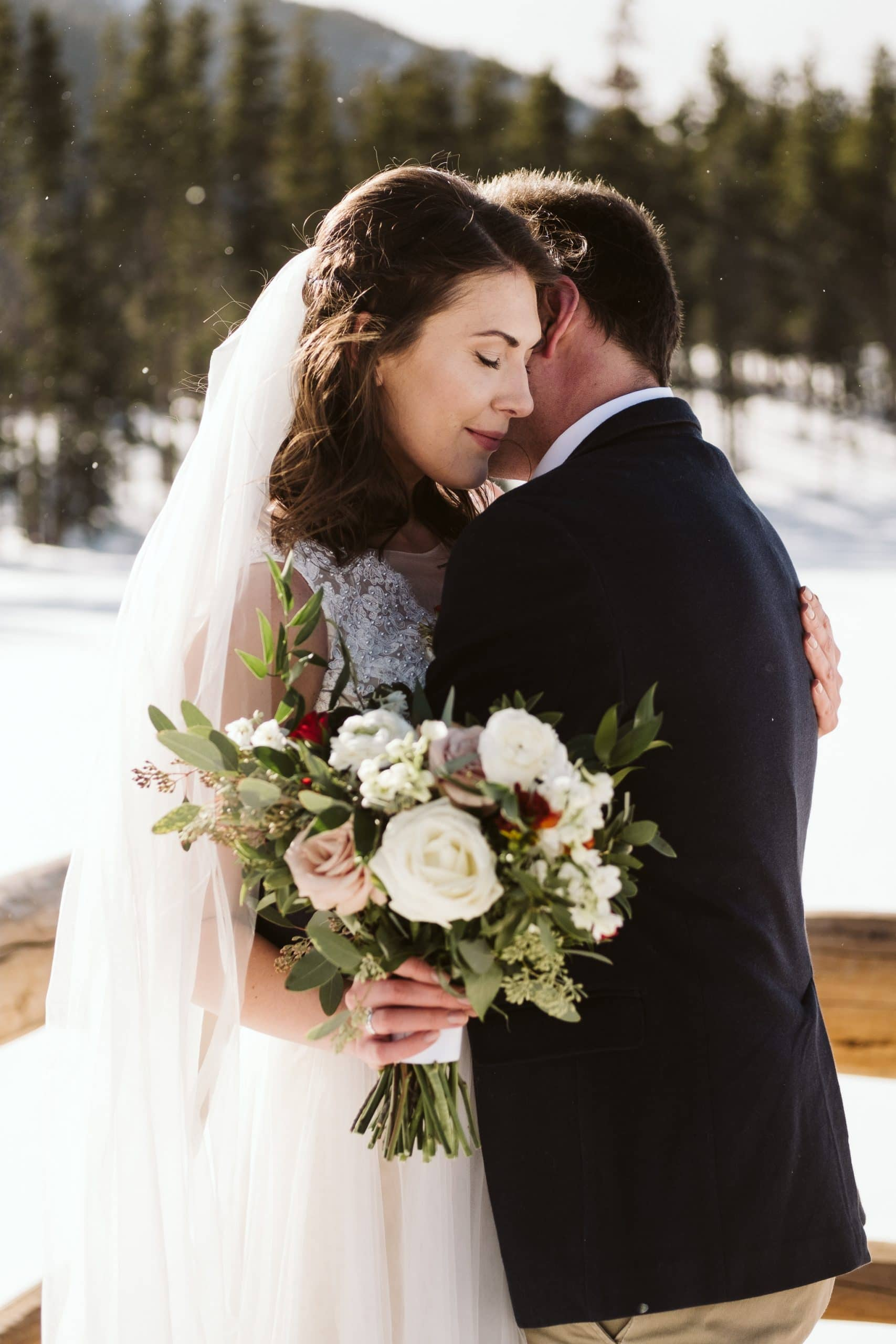 Rocky Mountain National Park winter elopement at Sprague Lake.