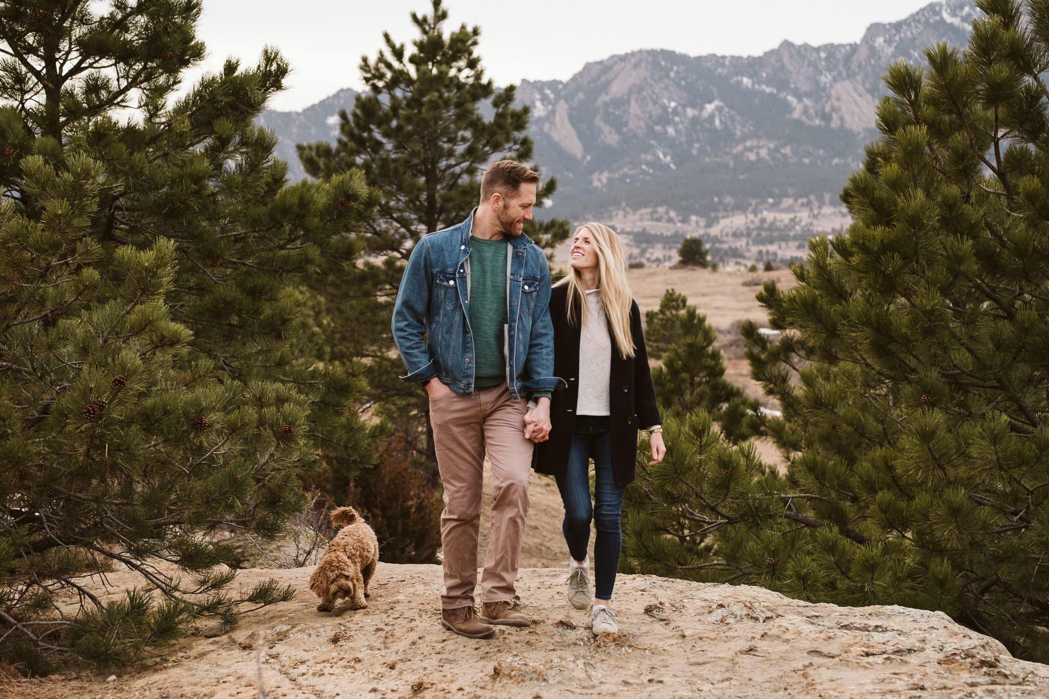 Boulder engagement session with dog.