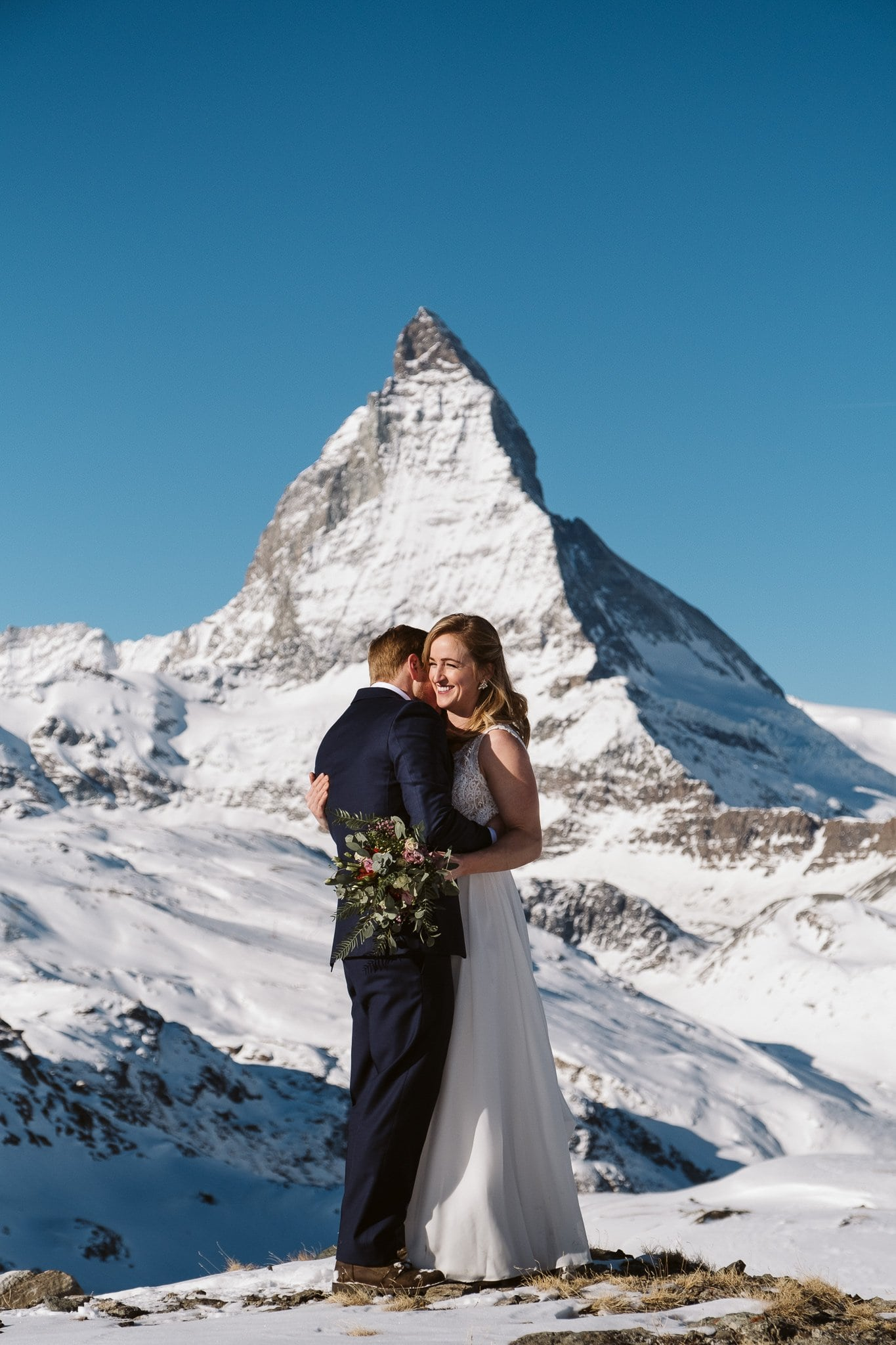 Switzerland elopement photographer at Matterhorn in Zermatt