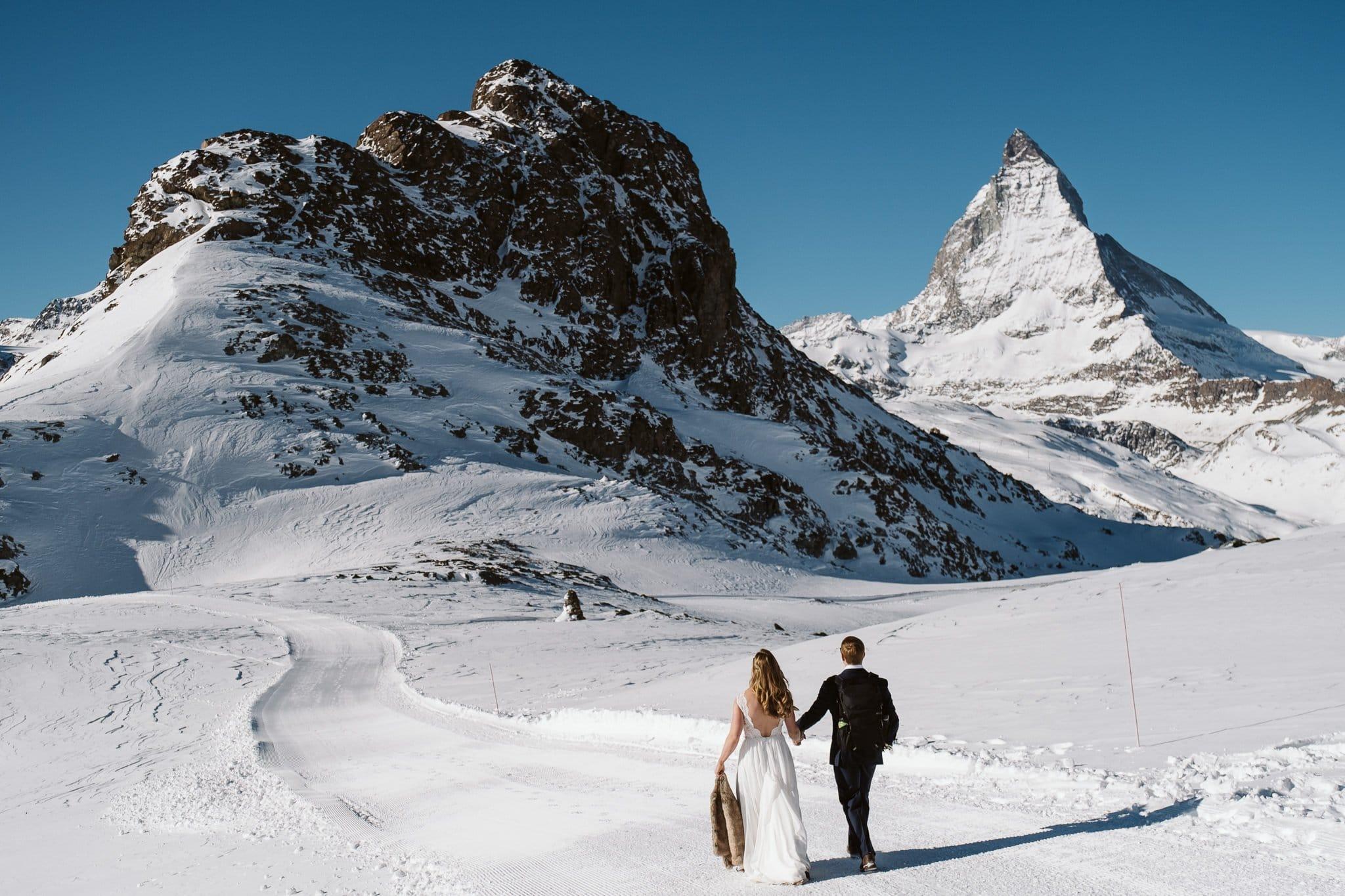 Matterhorn elopement in Switzerland, adventure elopement in winter