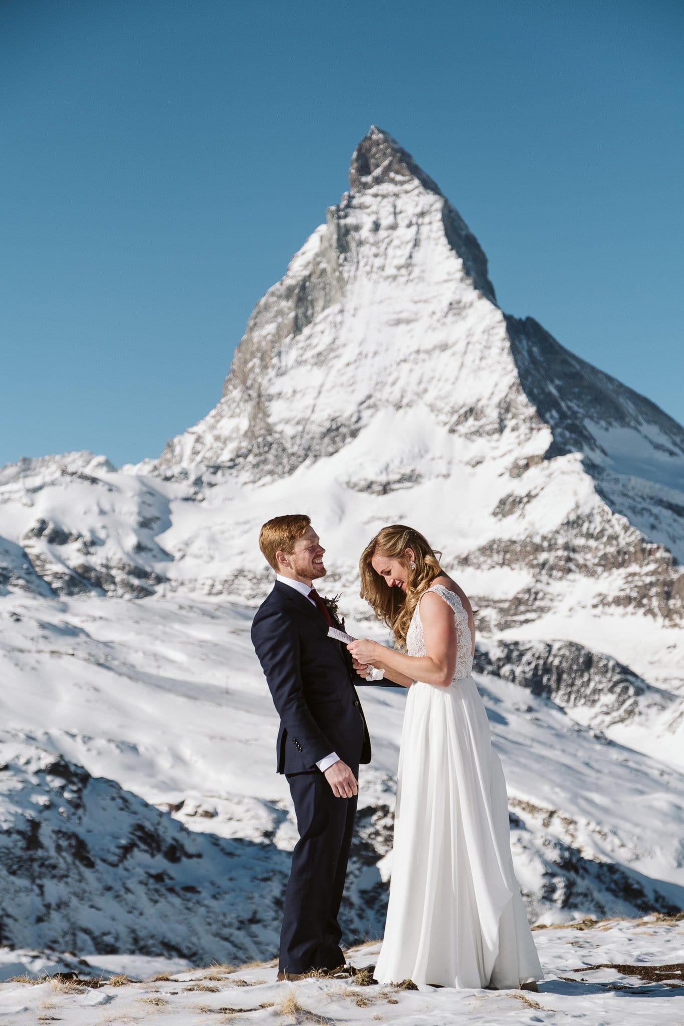 Hiking elopement at Matterhorn in Zermatt, Switzerland