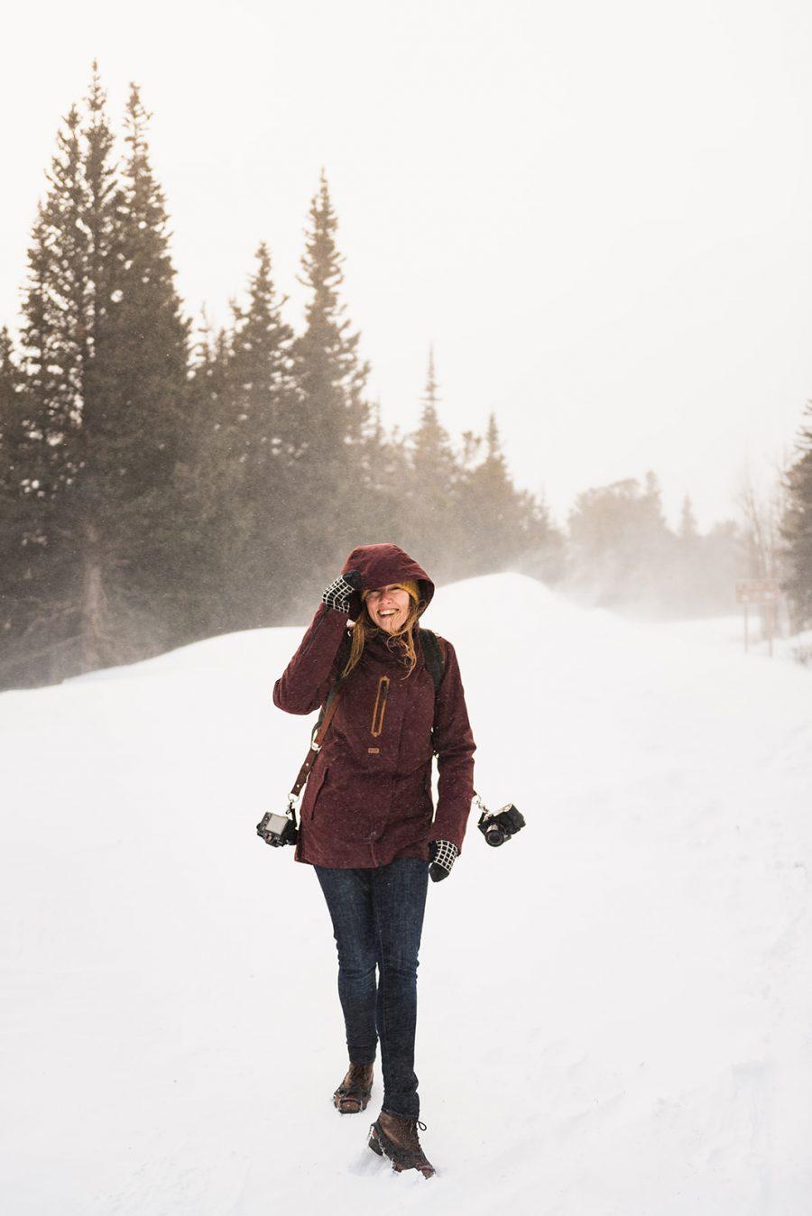 Fuji photographer in blizzard