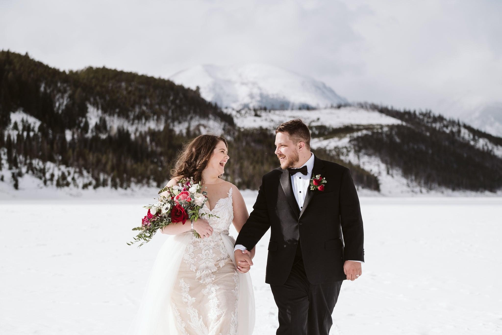 Breckenridge winter elopement on frozen alpine lake