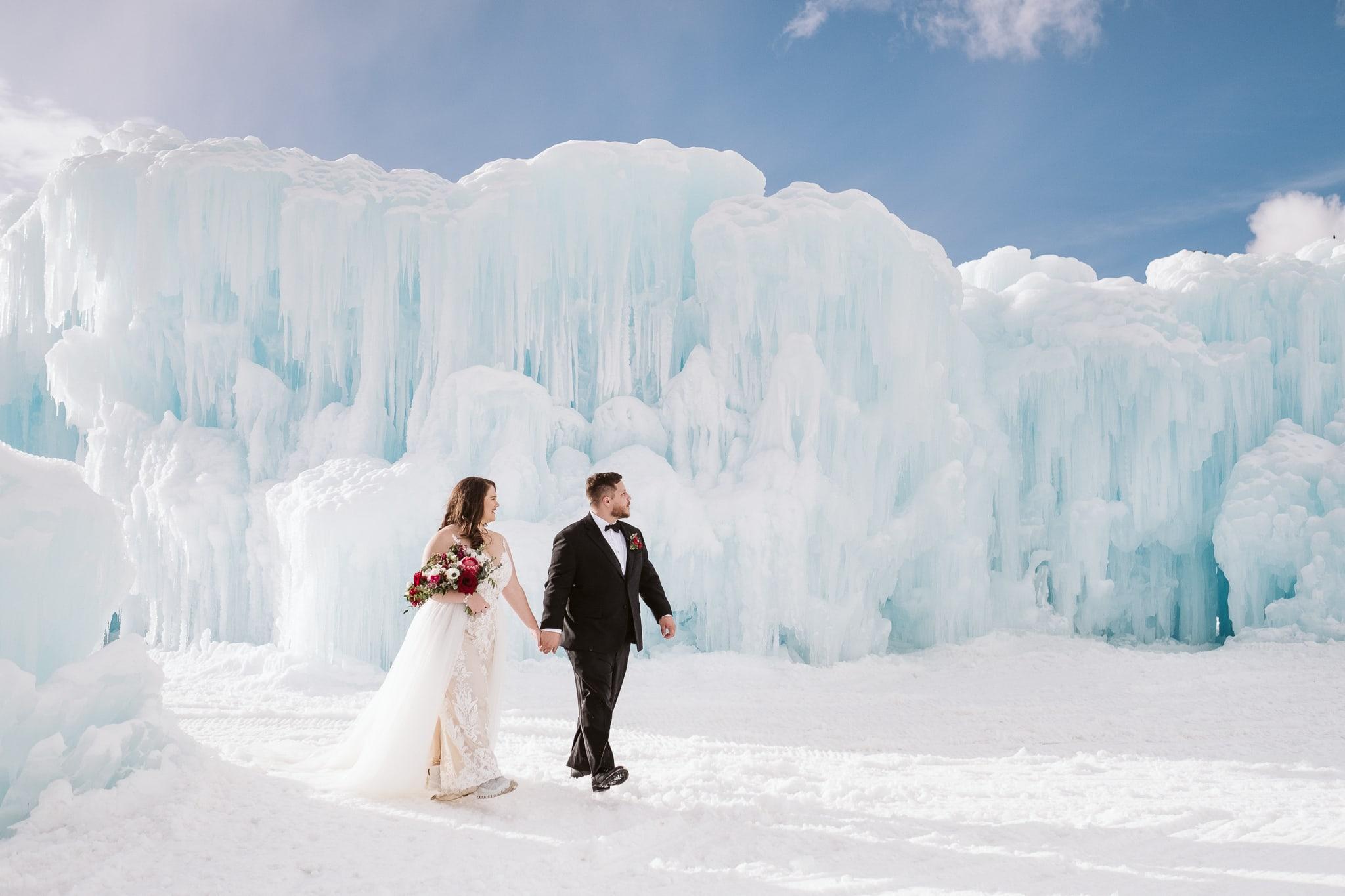 Winter elopement at Ice Castles in Colorado