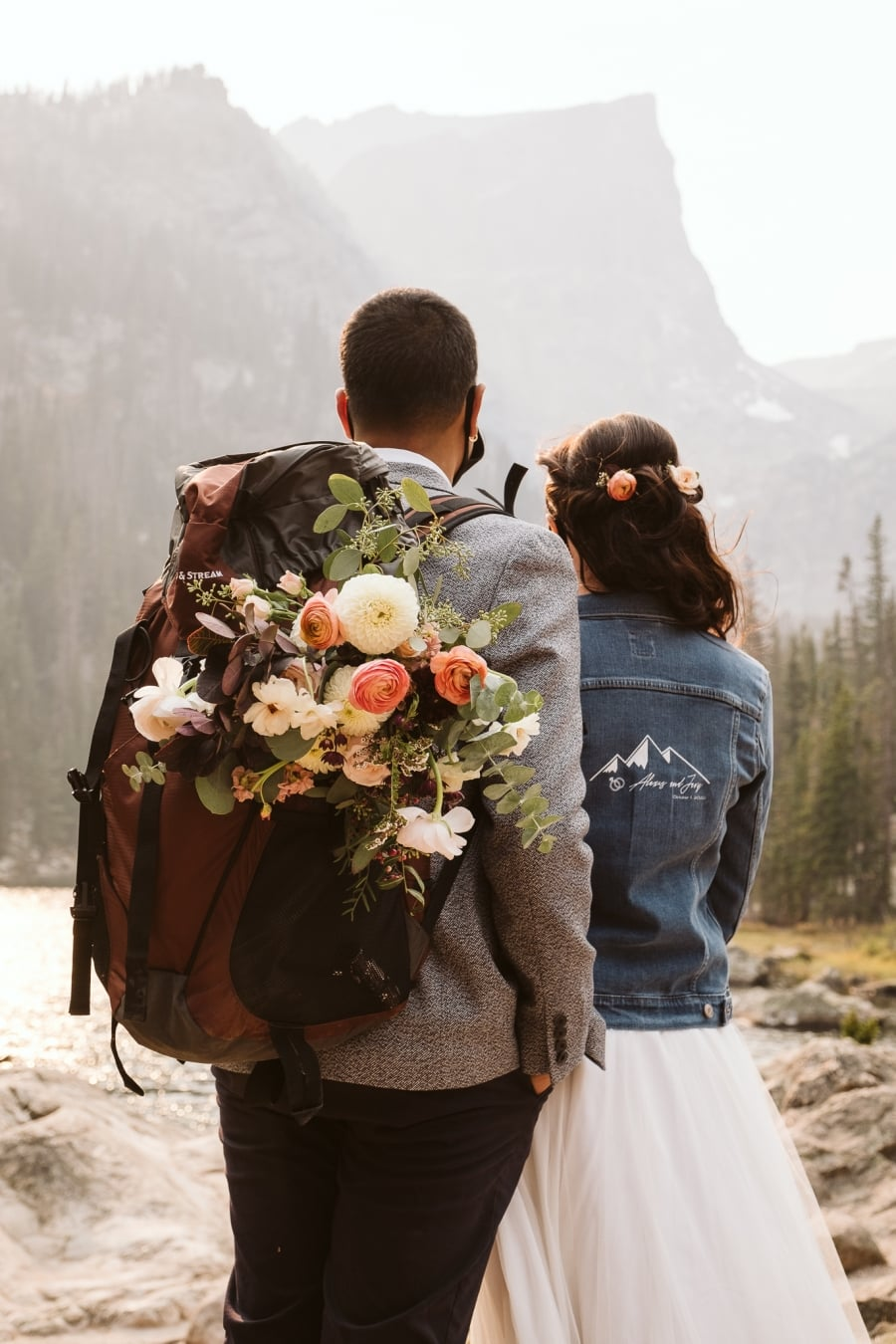Hiking backpack with adventure elopement gear