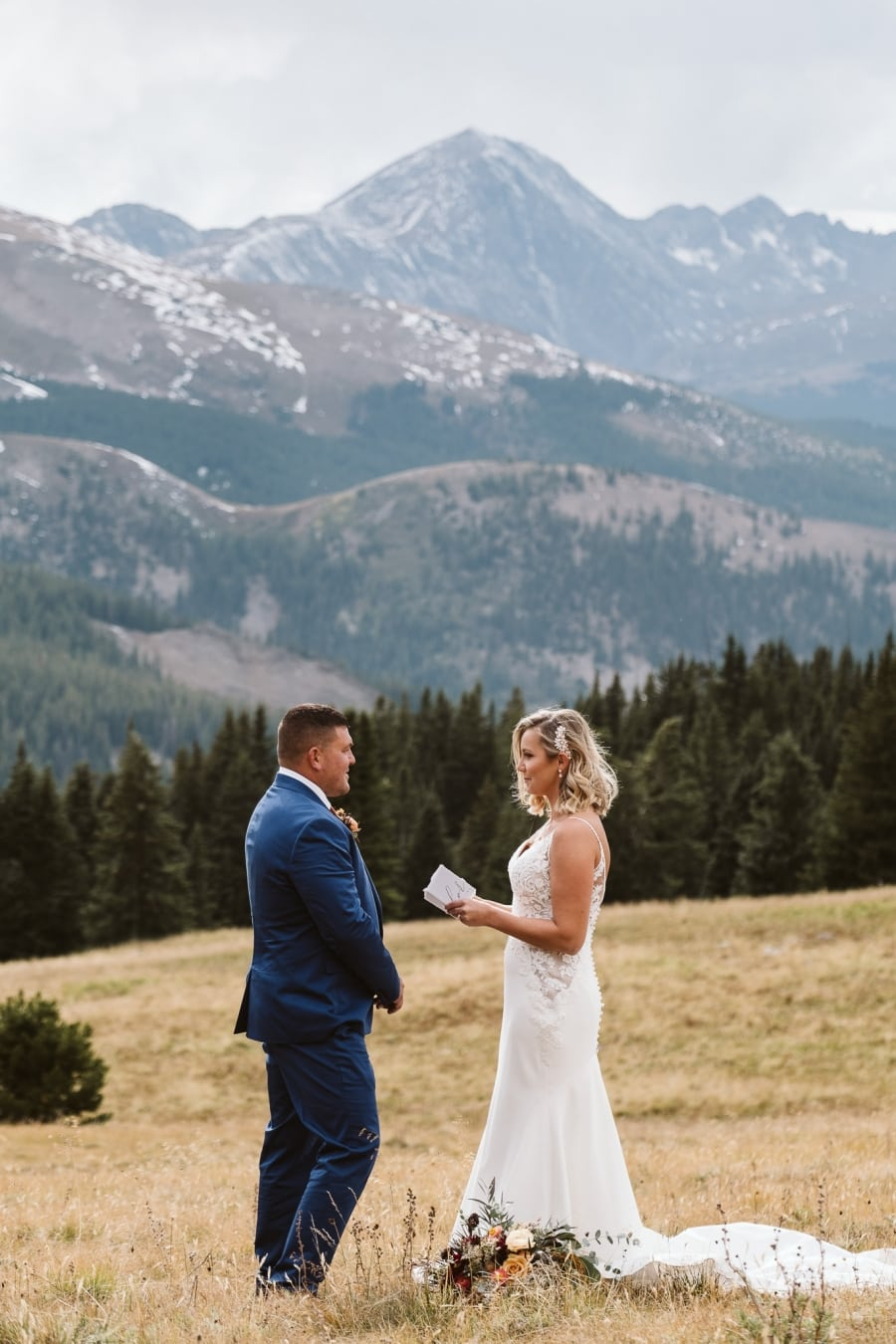 Couple eloping in the Colorado mountains